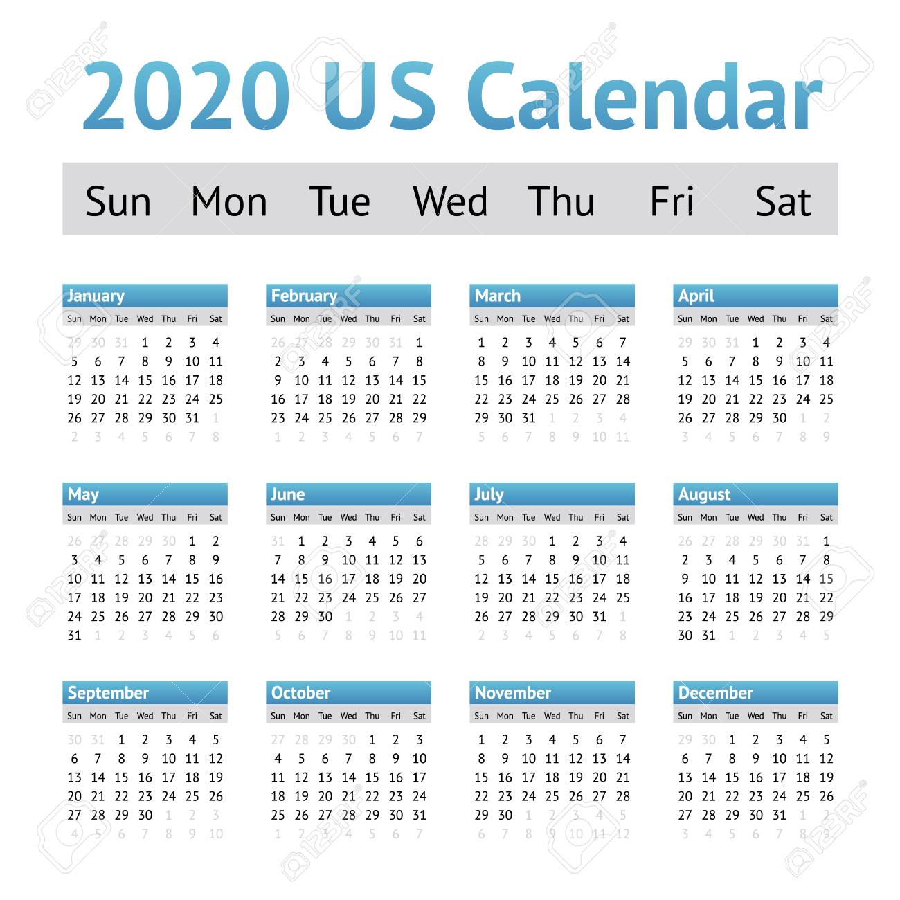 American Calendar 2020 2020 US American English Calendar. A Week Starts On Sunday Royalty