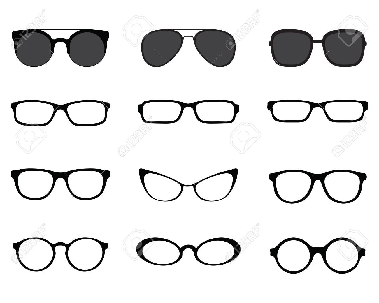 Black silhouettes of different eyeglasses on a white background - 126708351