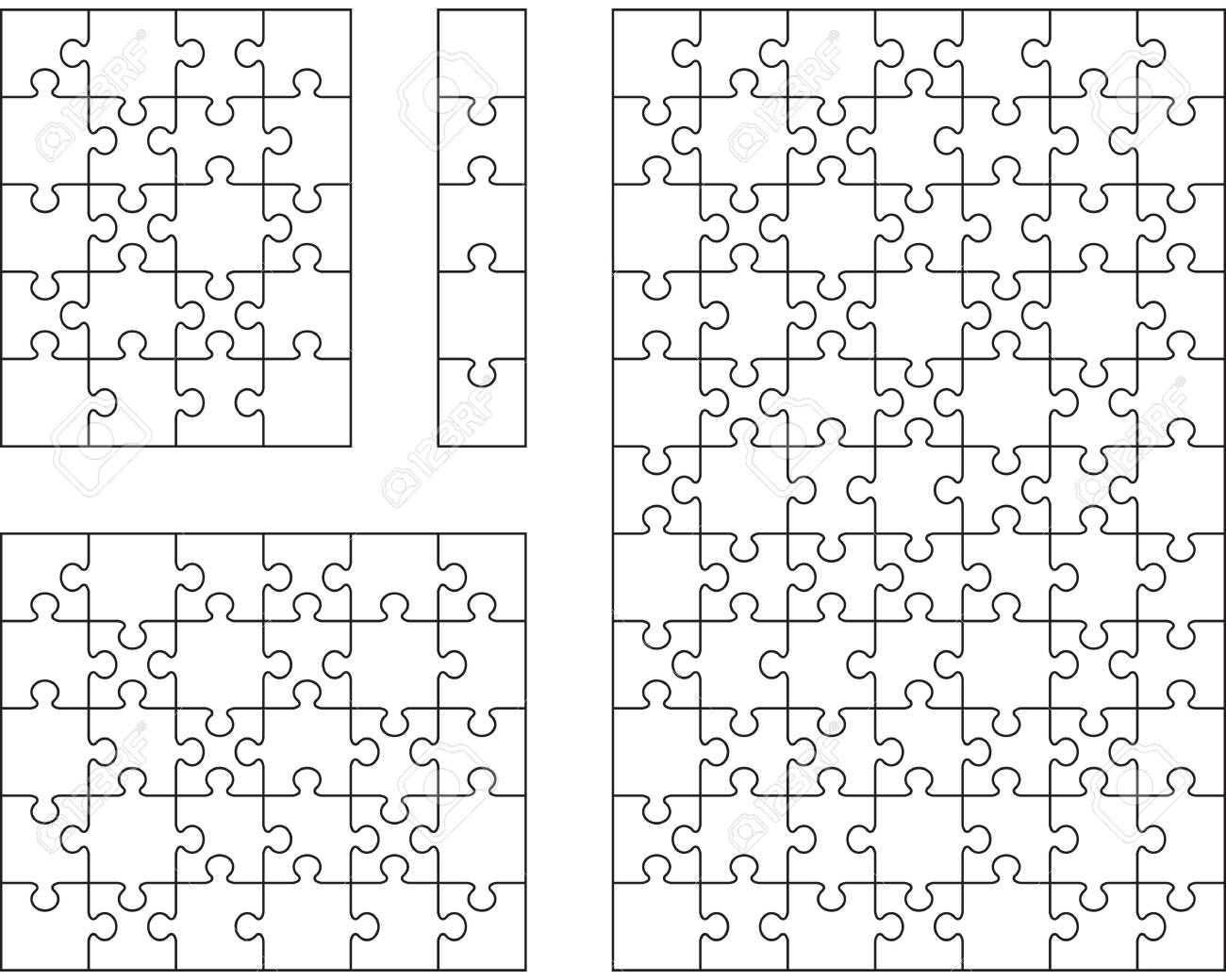 Illustration of four different white puzzles, separate pieces - 141610800