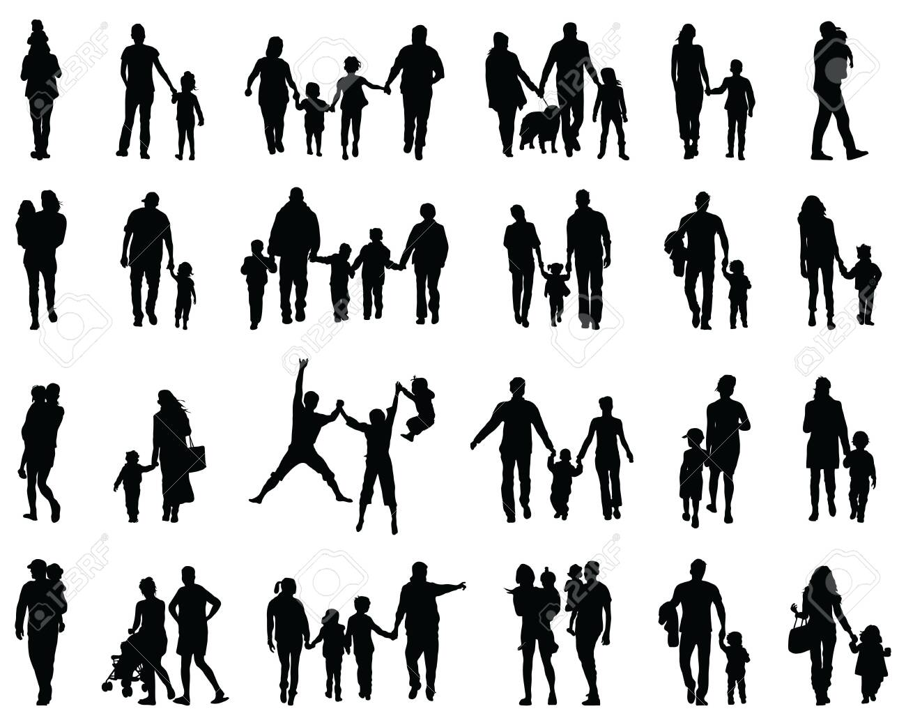 Black silhouettes of families in a walk on a white background - 141610803