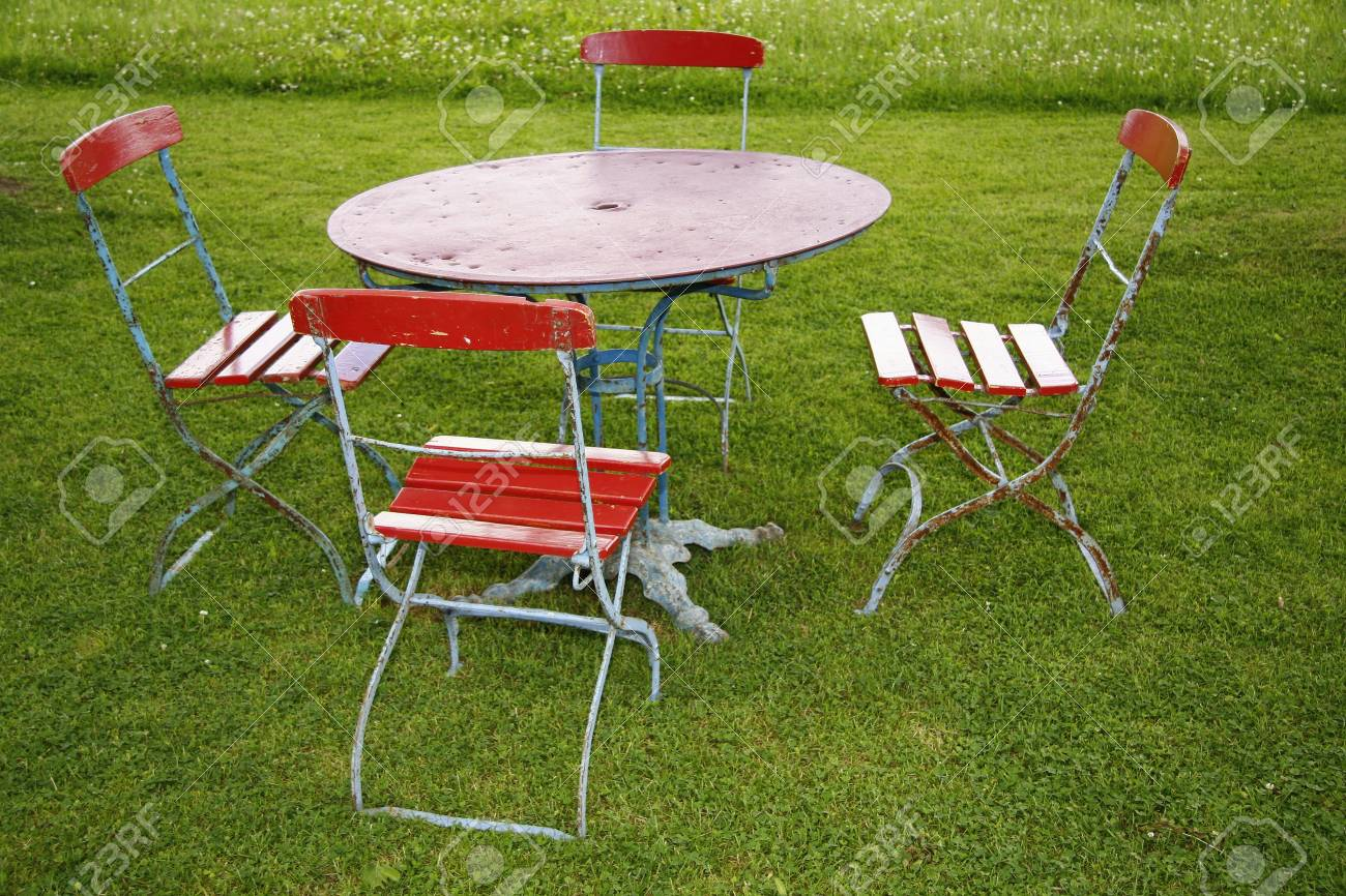 Seating From The Old Folding Chairs And Folding Table Stock Photo   10511491