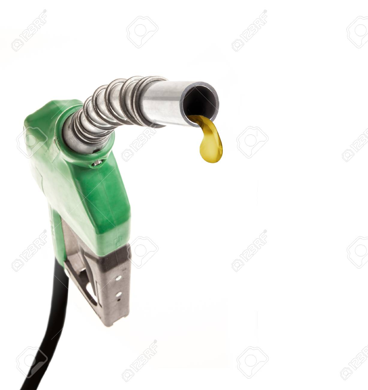 Green gas noozle with one last drop on white background - 85252398