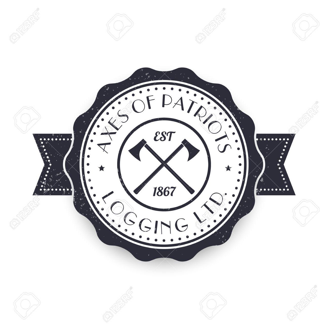 Logging lumber company vintage logo logotype sign template logging lumber company vintage logo logotype sign template with lumberjacks axes over white pronofoot35fo Gallery