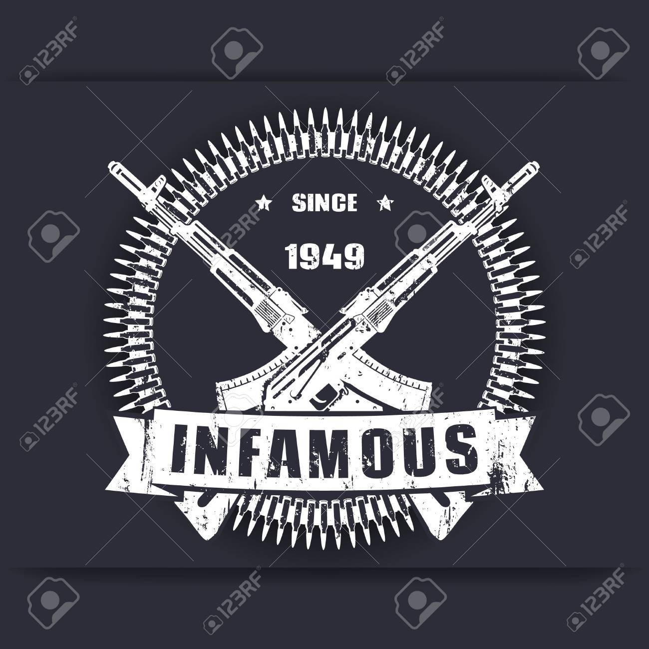 Infamous Since 1949 Vintage Grunge Badge Sign T Shirt Design