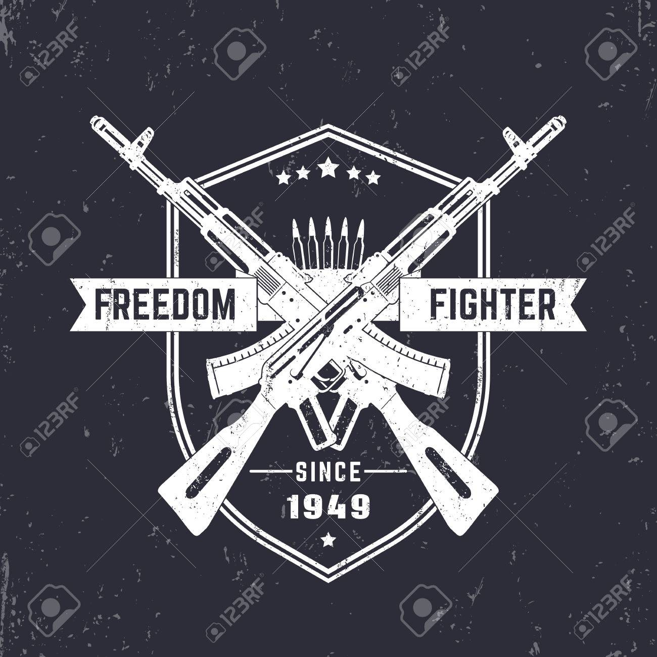 Shirt design vintage - Freedom Fighter Vintage T Shirt Design Print With Crossed Assault Rifles