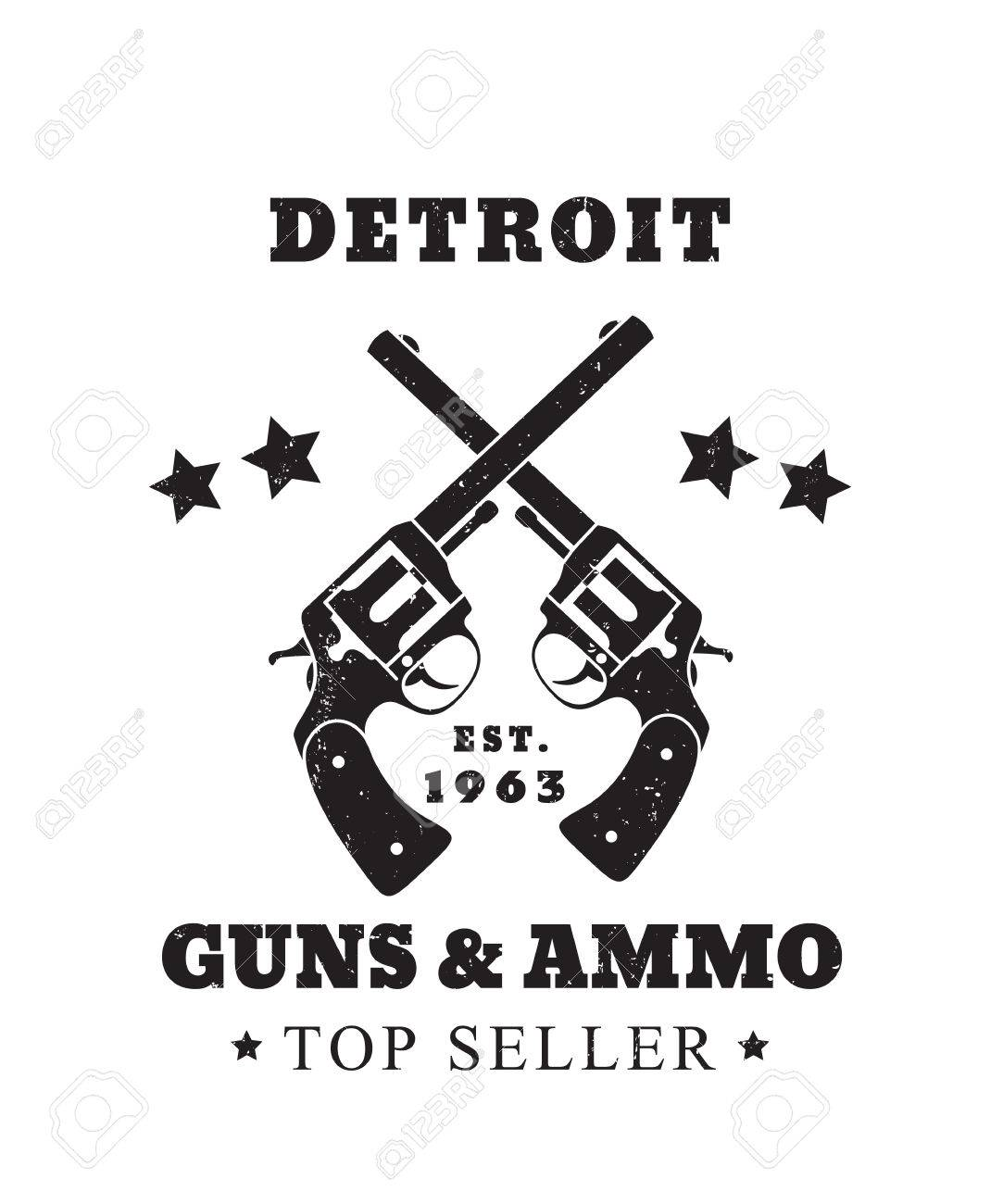 Detroit Guns And Ammo Grunge Emblem Vector Illustration Royalty