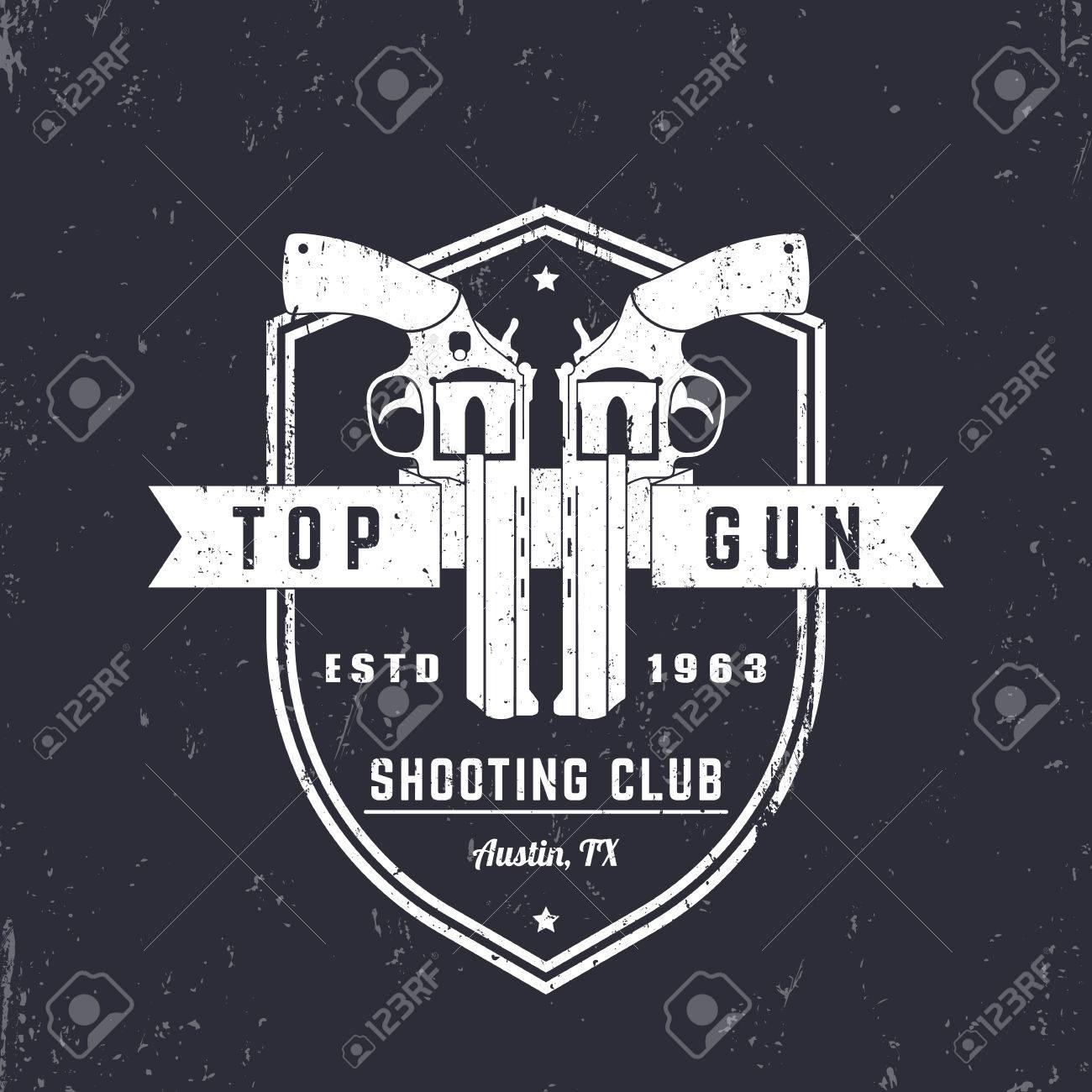 銃クラブ ビンテージ ロゴ 拳銃 シールド トップガン サイン