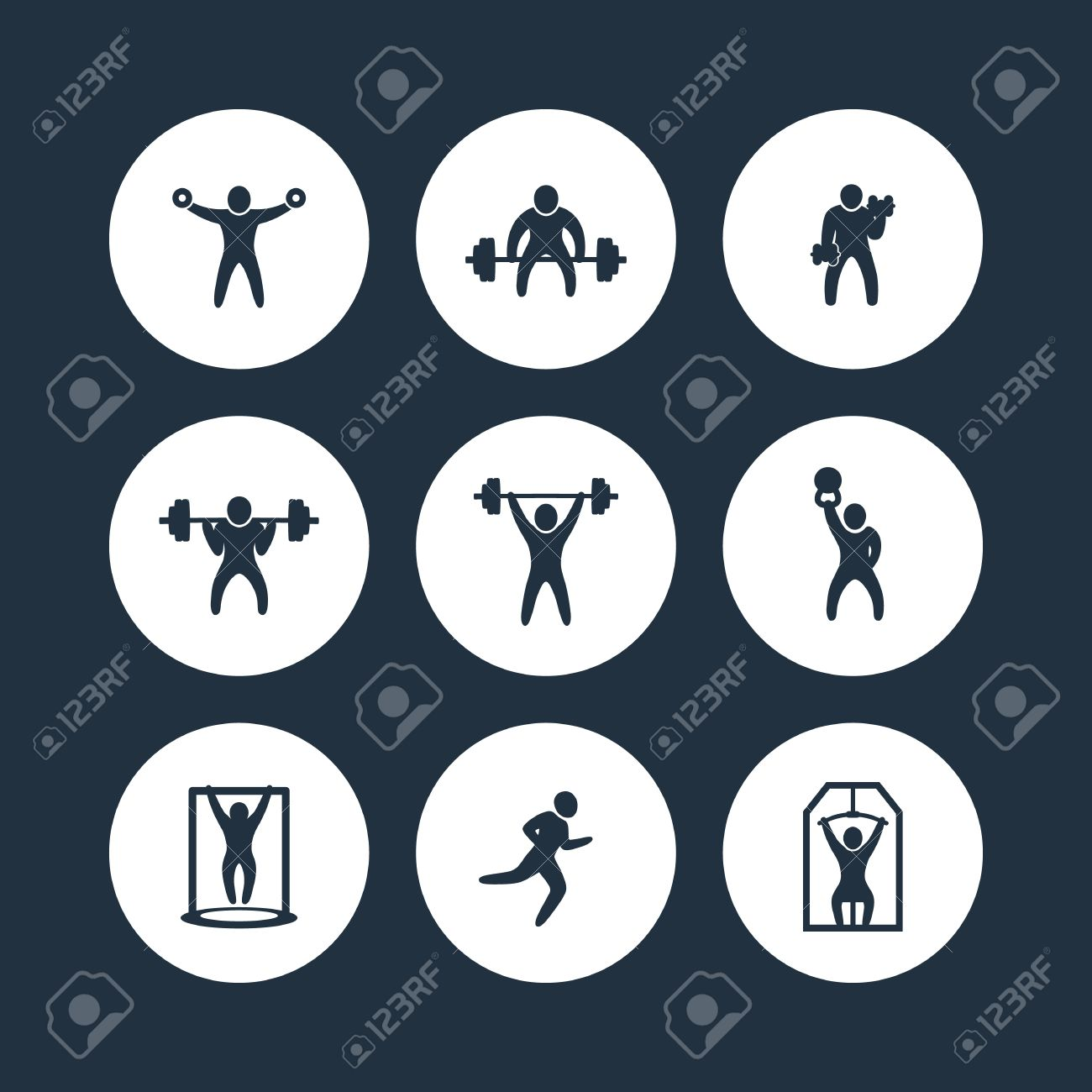 Gym Fitness Exercises Round Icons Training Workout Icon Vector Illustration Stock