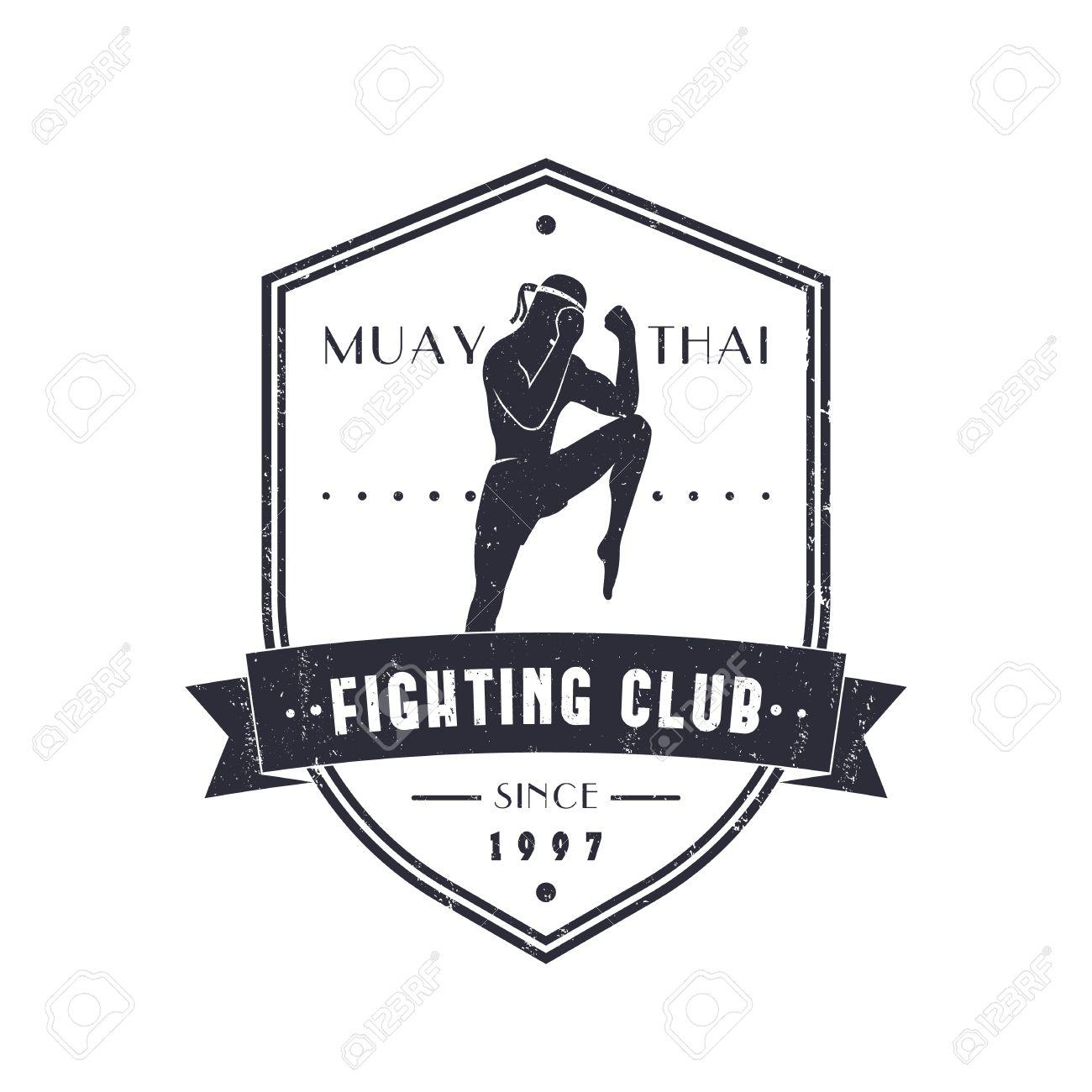 Shirt design easy - Muay Thai Fighting Club Vintage Emblem Logo T Shirt Design On Shield