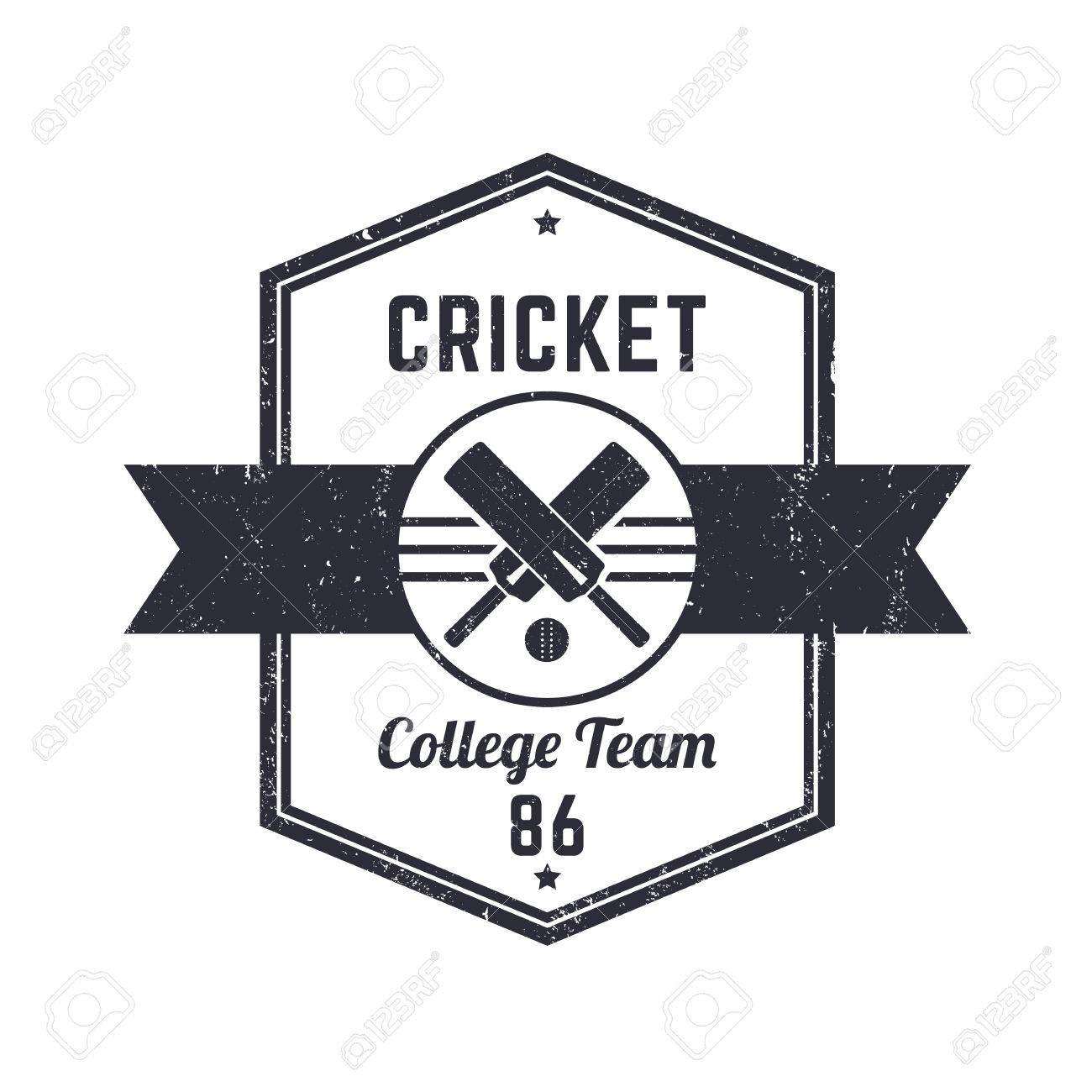 Equipo De Cricket Logotipo De época Grunge, Insignia, Ilustración ...