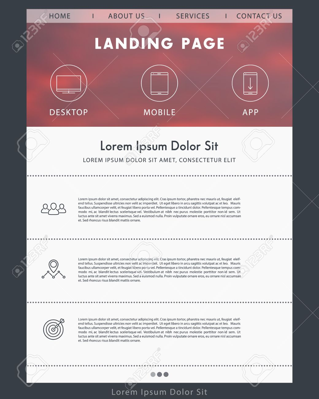 Landing Page Concept, Website Design Template, Web Page Layout ...