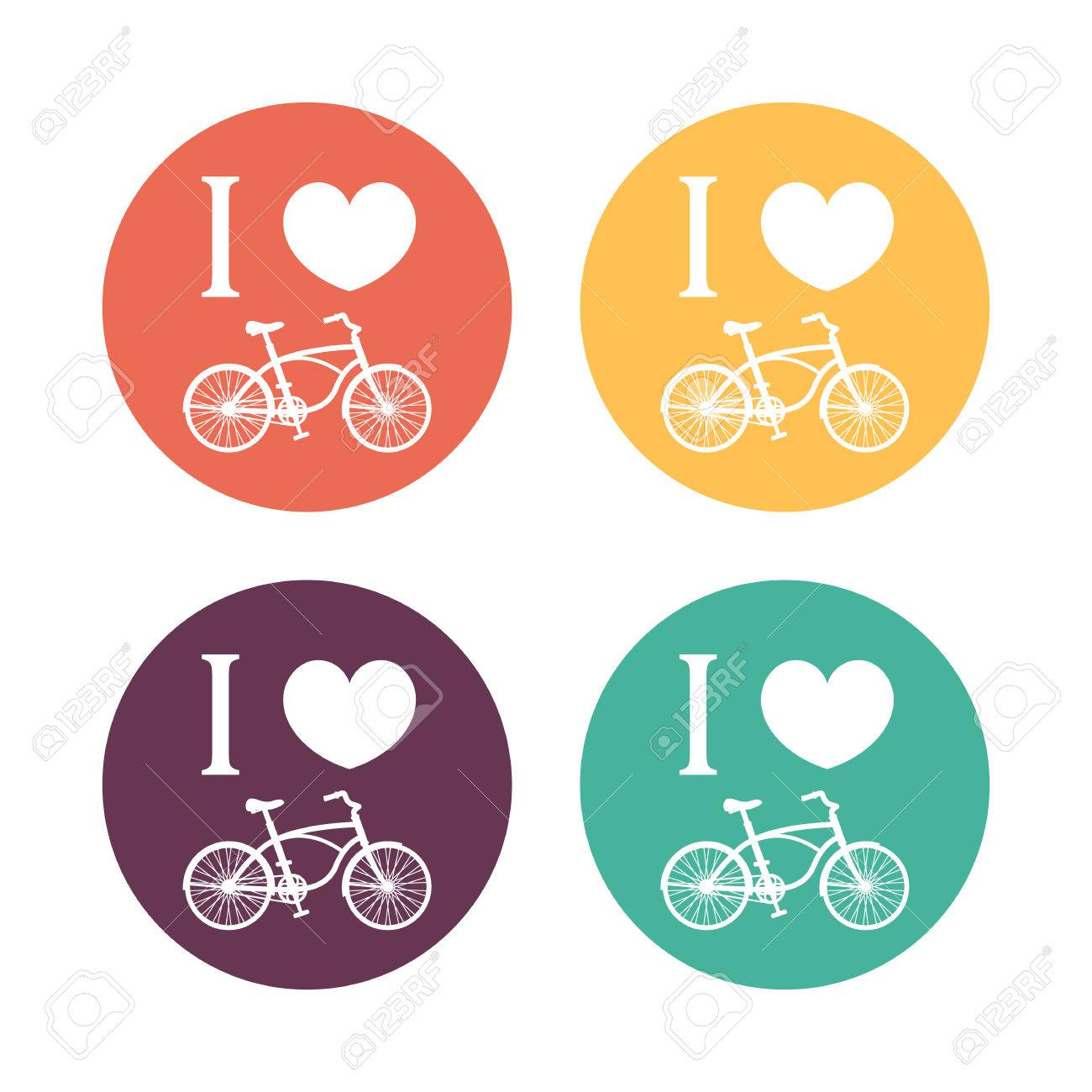 I Love Cycling Signs Color T Shirt Print With Vintage Bike