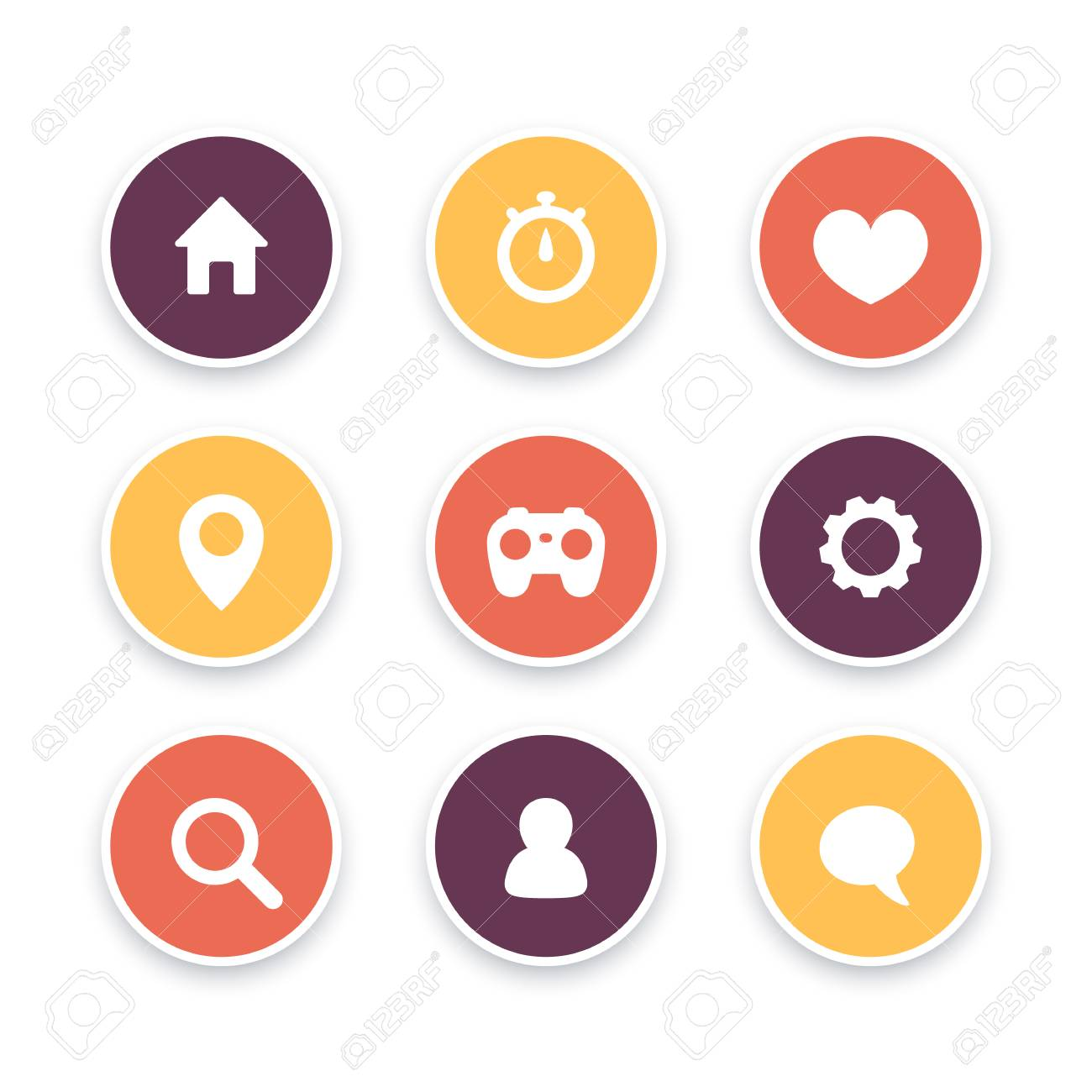 Basic web icons, settings, login icon, home, search, favourite,