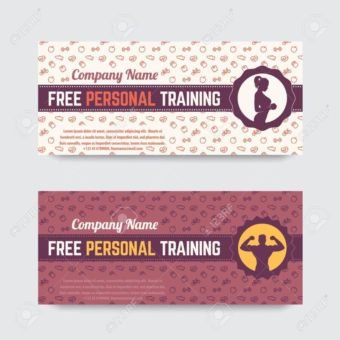 Kostenlose Personal Training, Geschenkgutschein Design Für Fitness ...