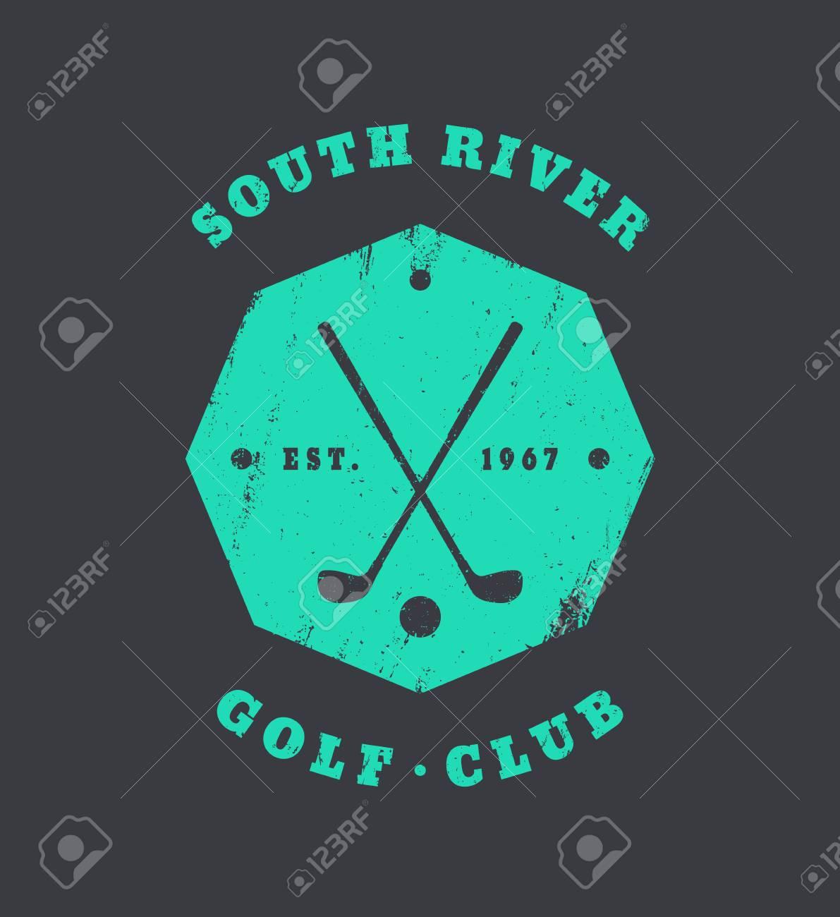 Golf Club Grunge Vintage Octagonal Emblem, Logo, Badge With Crossed Golf Clubs Crossed Logo Design on golf t-shirt logo design, baseball skull tattoo design, golf club embroidery design,