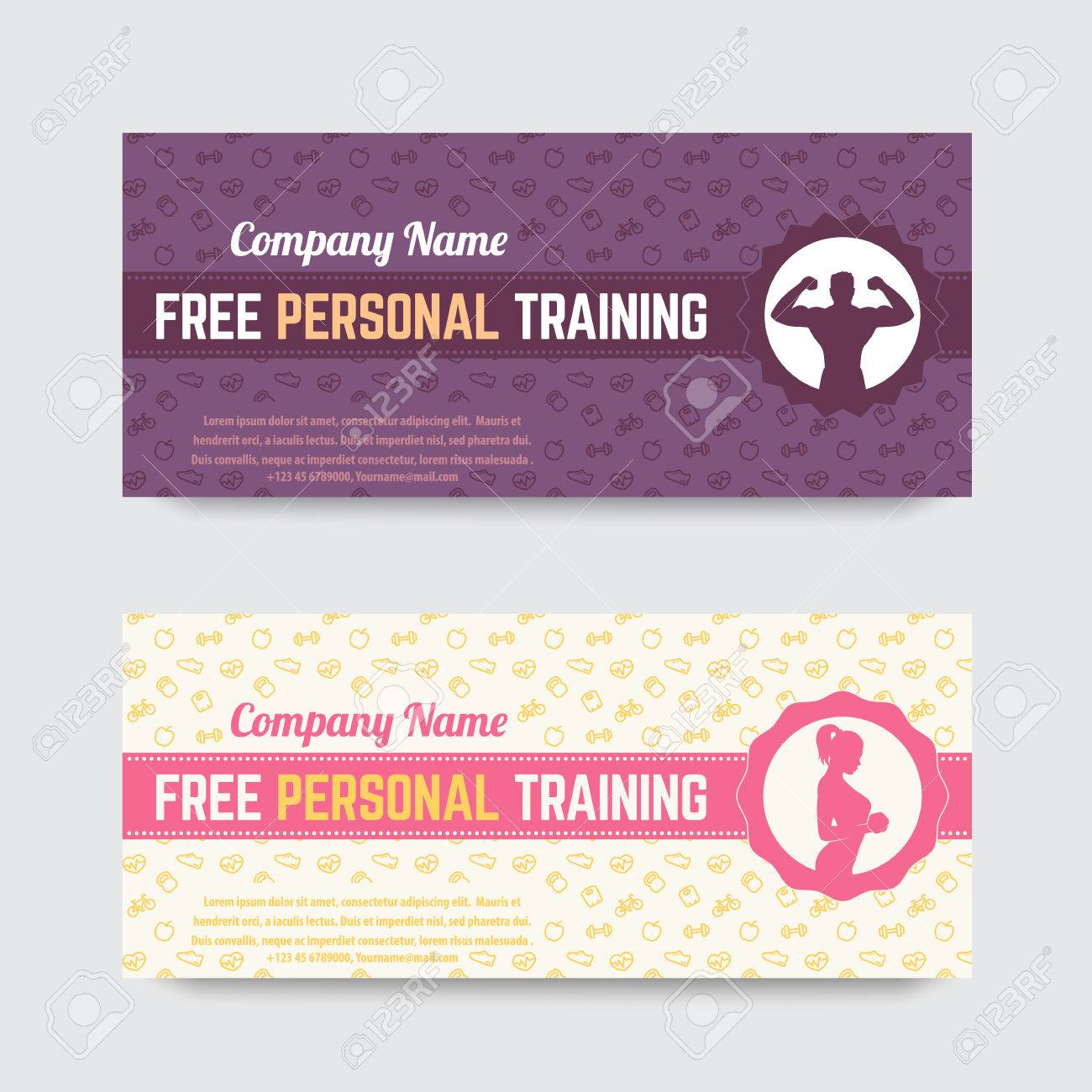 free personal training gift voucher design for gym fitness