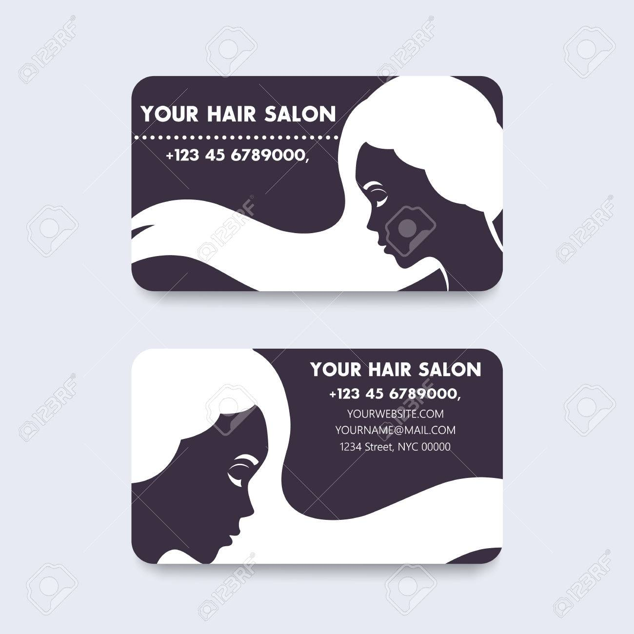 Business Card Design For Hair Salon With Long Haired Girl ...