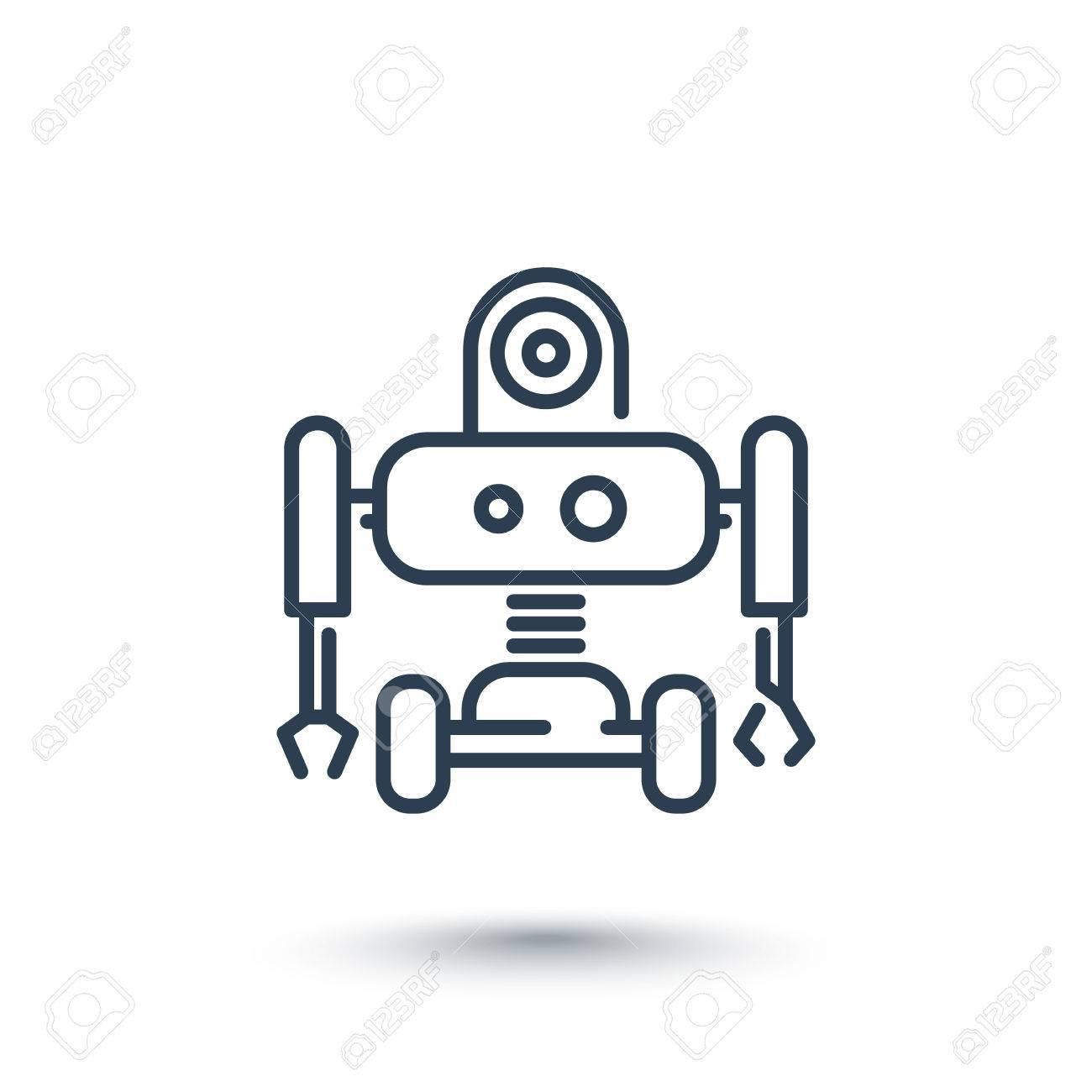 Robotics Line Icon Robot Pictogram Isolated On White Illustration