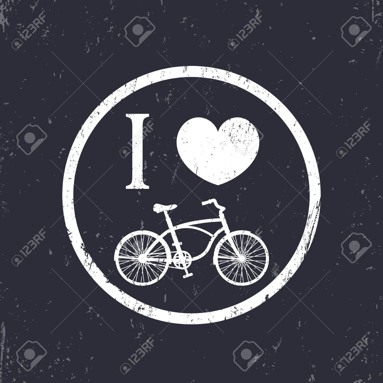 I Love Cycling Round Sign With Vintage Bike Illustration Royalty