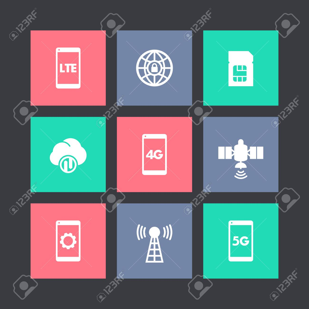 Wireless Technology Icons On Squares Lte 4g Network Pictogram