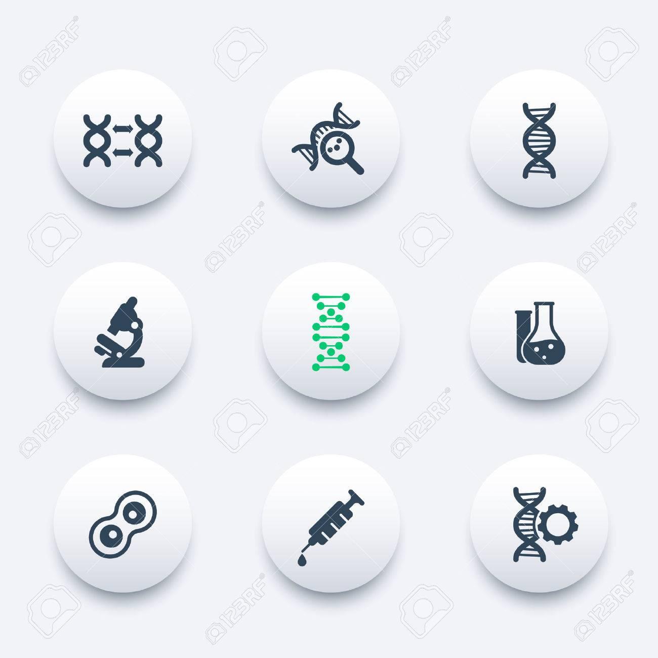 genetics icons dna chain pictogram genetic modification dna
