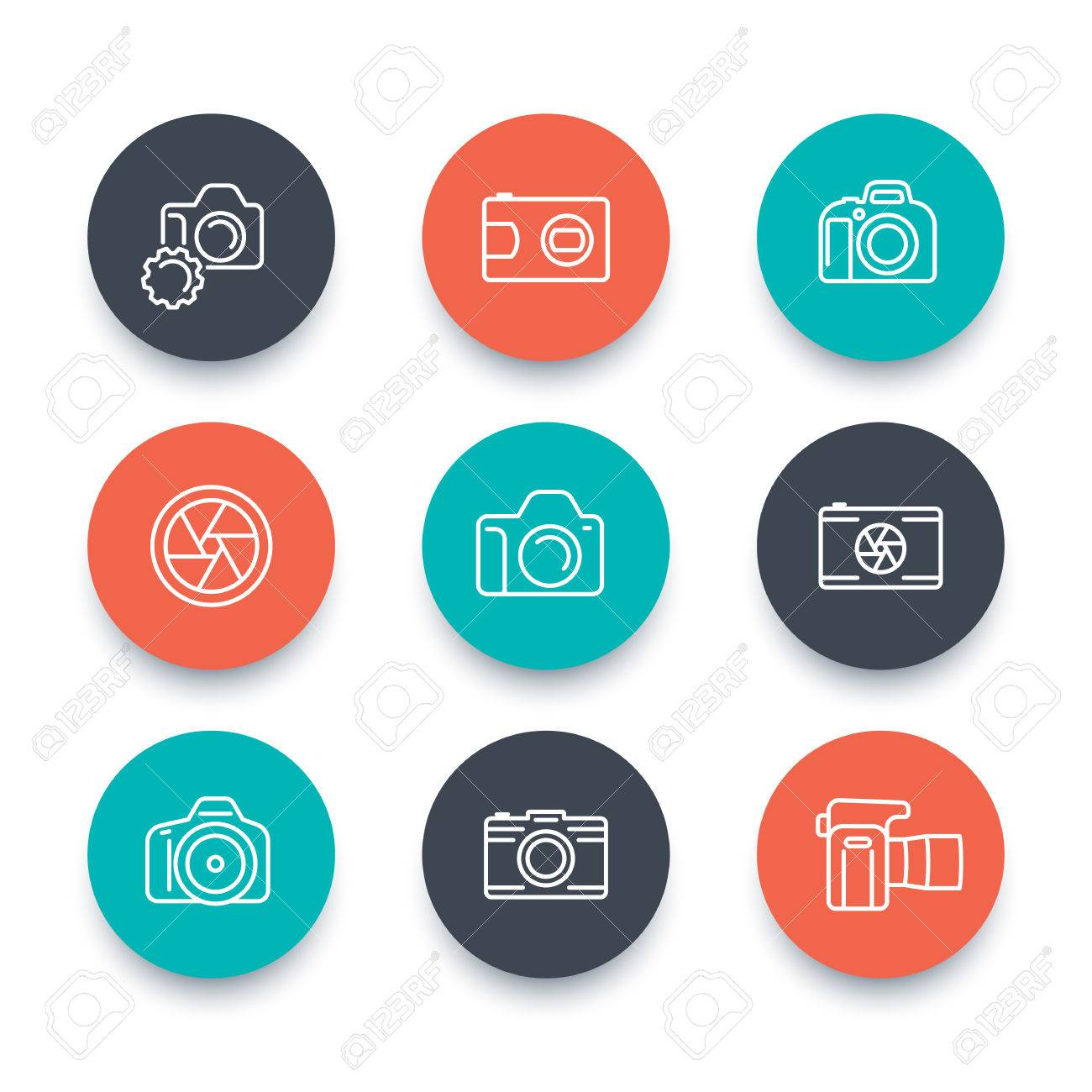 Camera line icons dslr aperture photography slr camera camera line icons dslr aperture photography slr camera pictogram flat round pooptronica Images