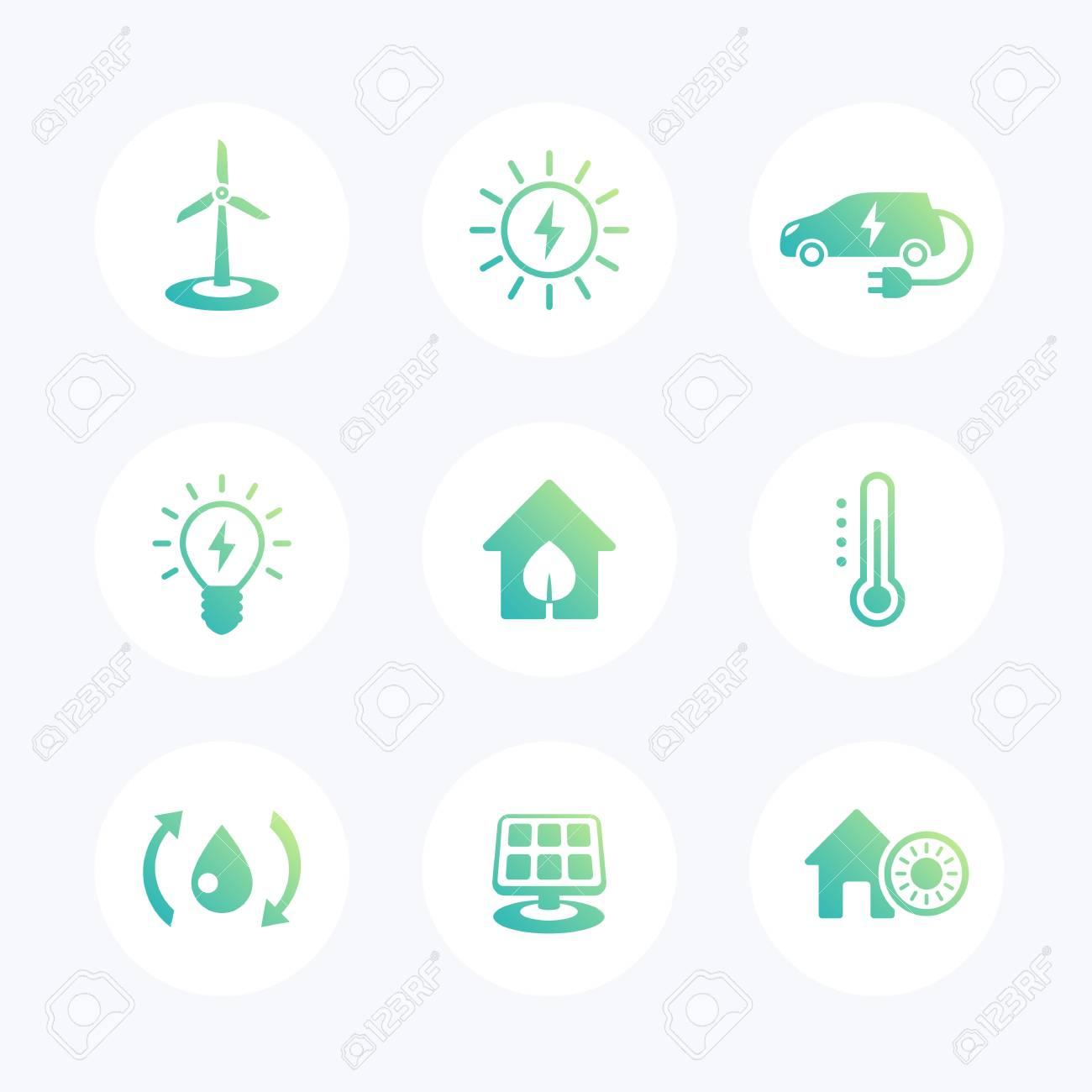 vert maison ecologique, icônes ecofriendly, les technologies d