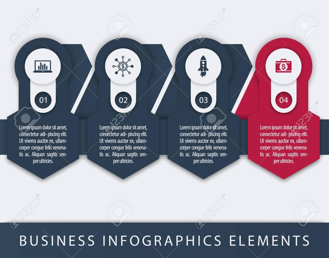 business finance infographics elements 1 2 3 4 steps timeline
