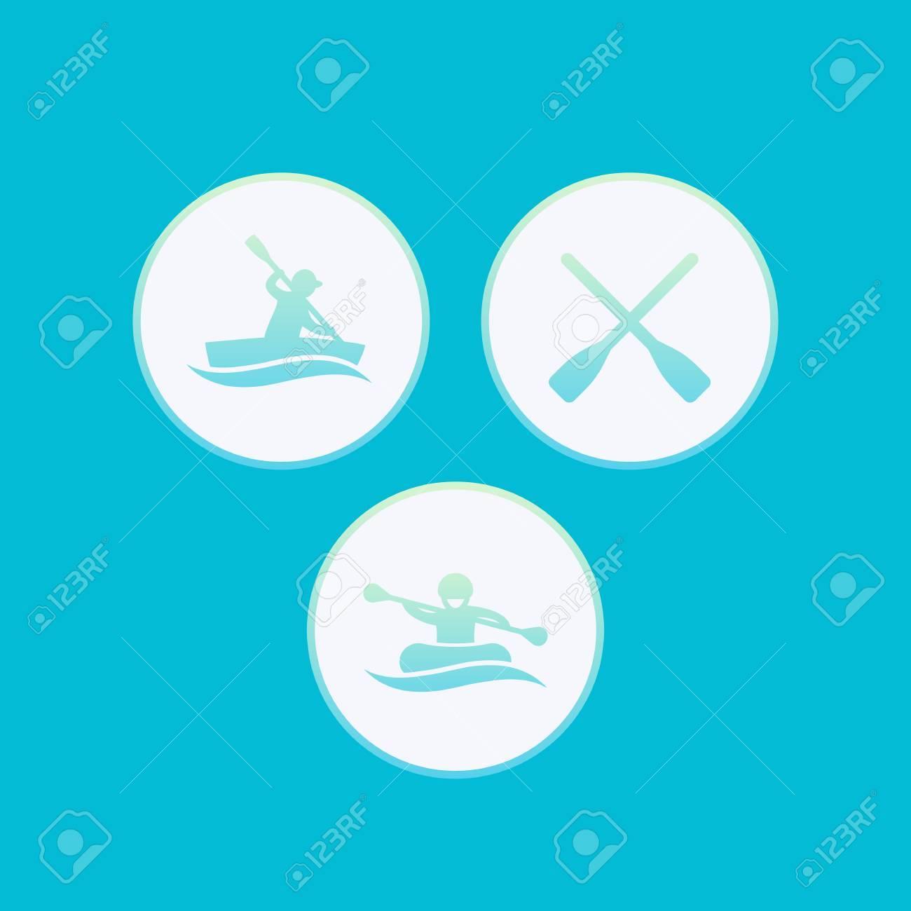 ボートカヤックラフティングカヌーオール ベクトル イラスト