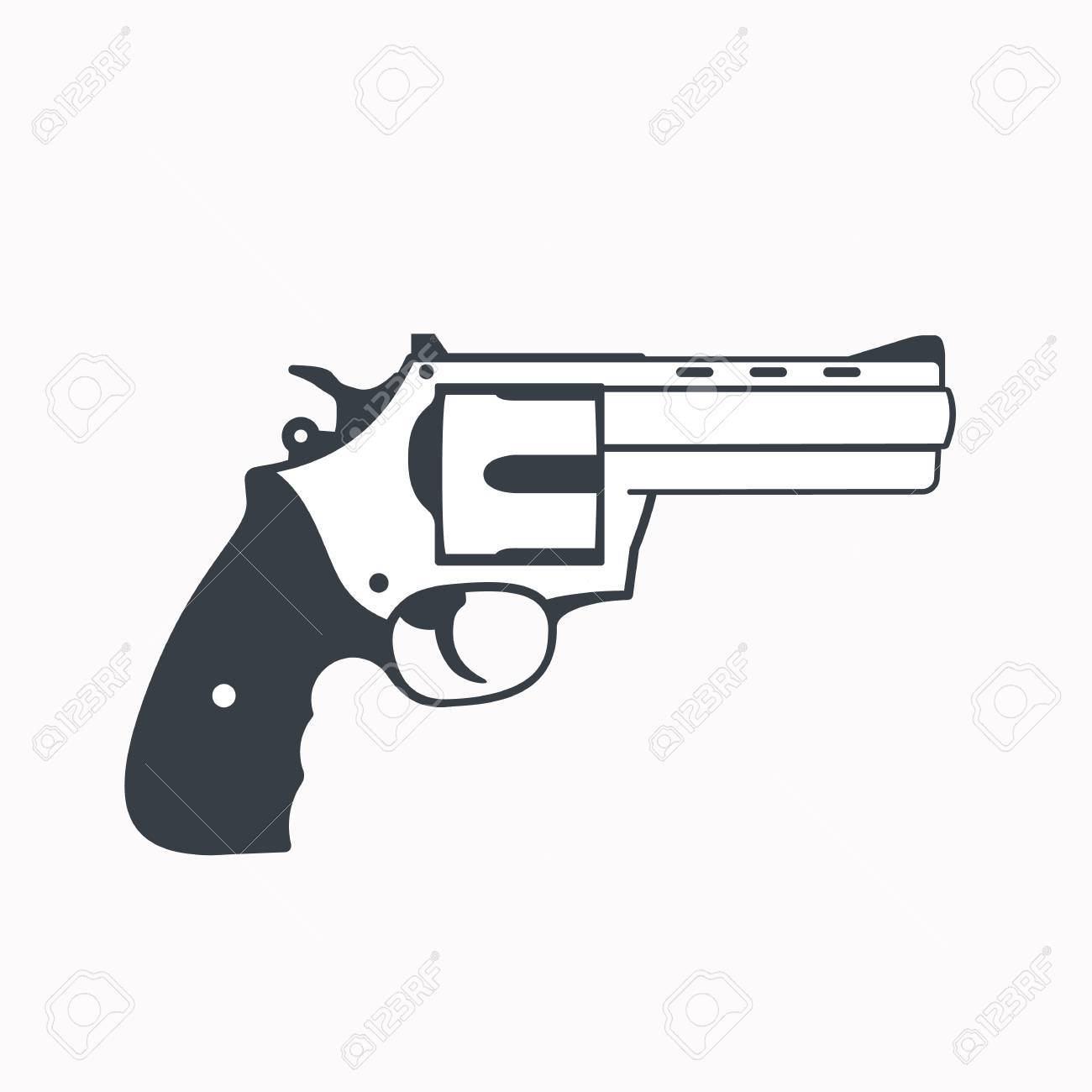 revolver outline handgun isolated on white royalty free cliparts