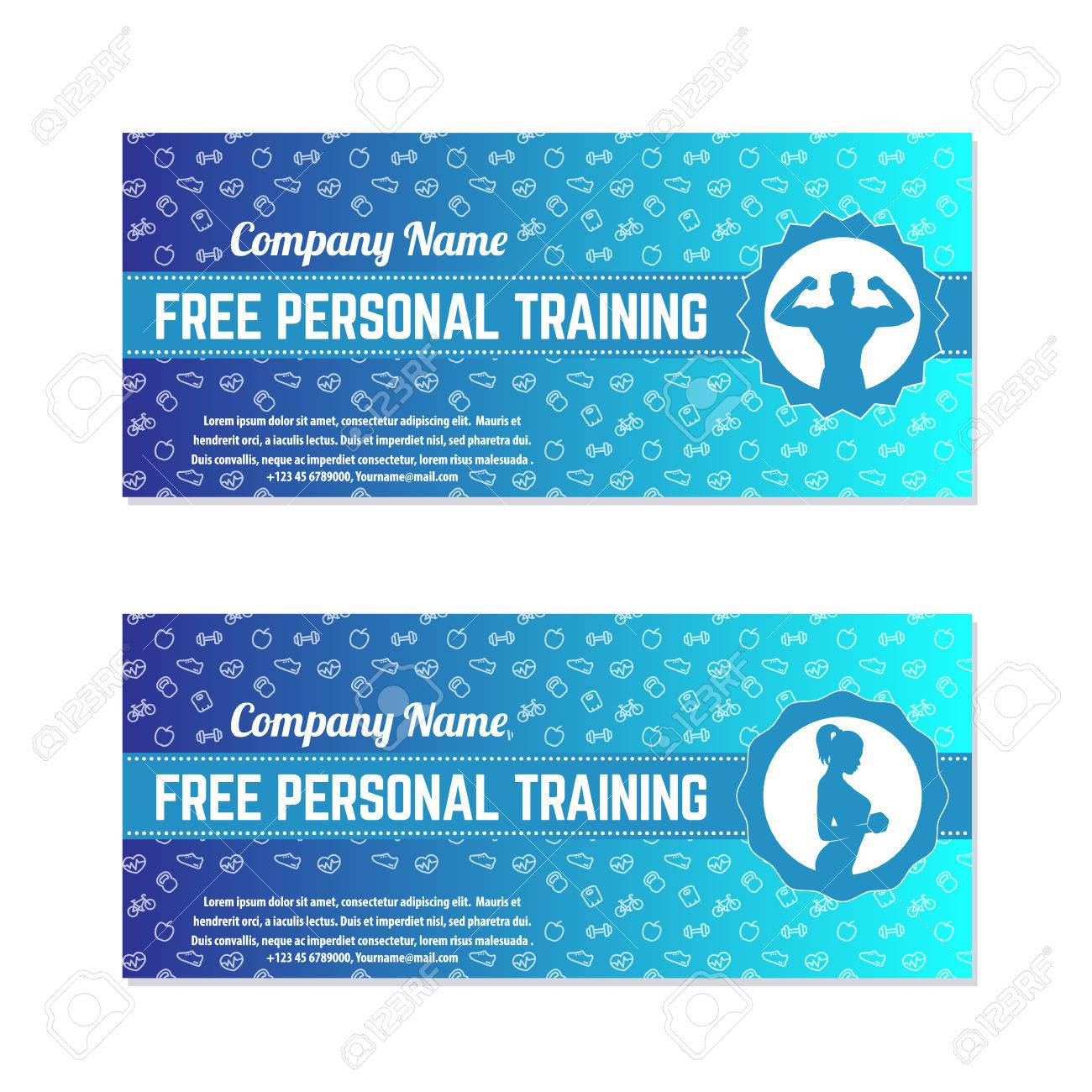 free personal training gift voucher for gym fitness center
