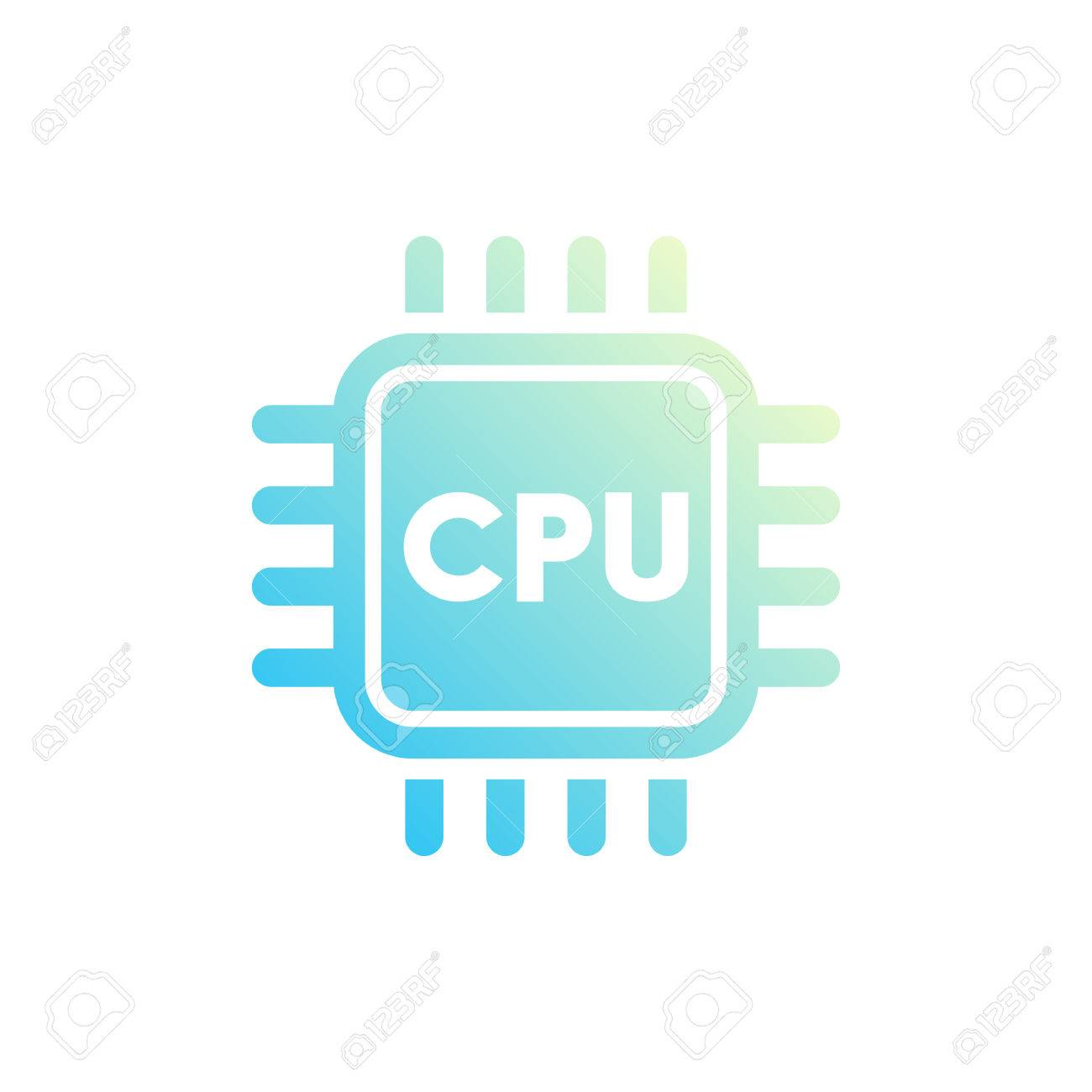 Cpu Icon Central Processing Unit Processor Electronic Circuit Diagram Of A Chipset On White