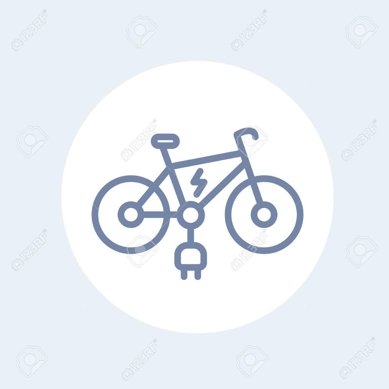 Elektrische Symbol Fahrrad Linie Isoliert Auf Weiß, Illustration ...