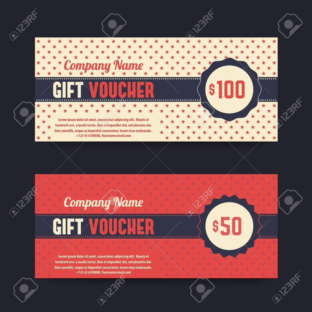 Vintage Gift Voucher Design, Templates, Vector Illustration Royalty ...