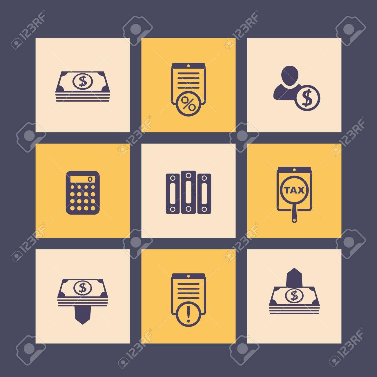 Contabilidad, Finanzas, Conjunto De Iconos De Nómina, Dinero ...