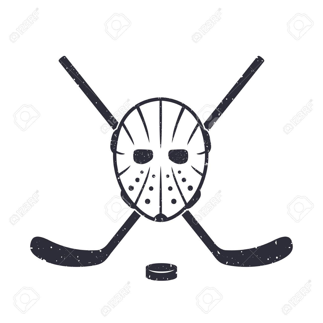 0d4313533156 Hockey Mask And Crossed Sticks On White