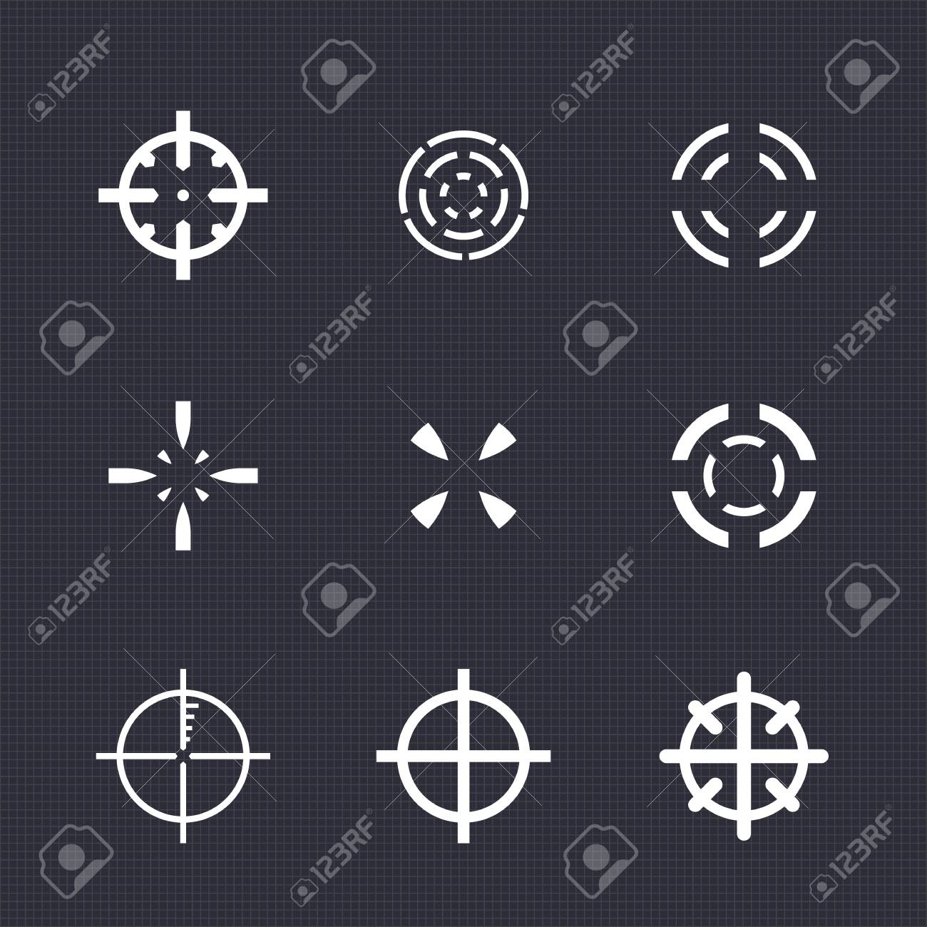 Crosshairs Set Elements For Game Design White On Dark Stock Vector 69815237