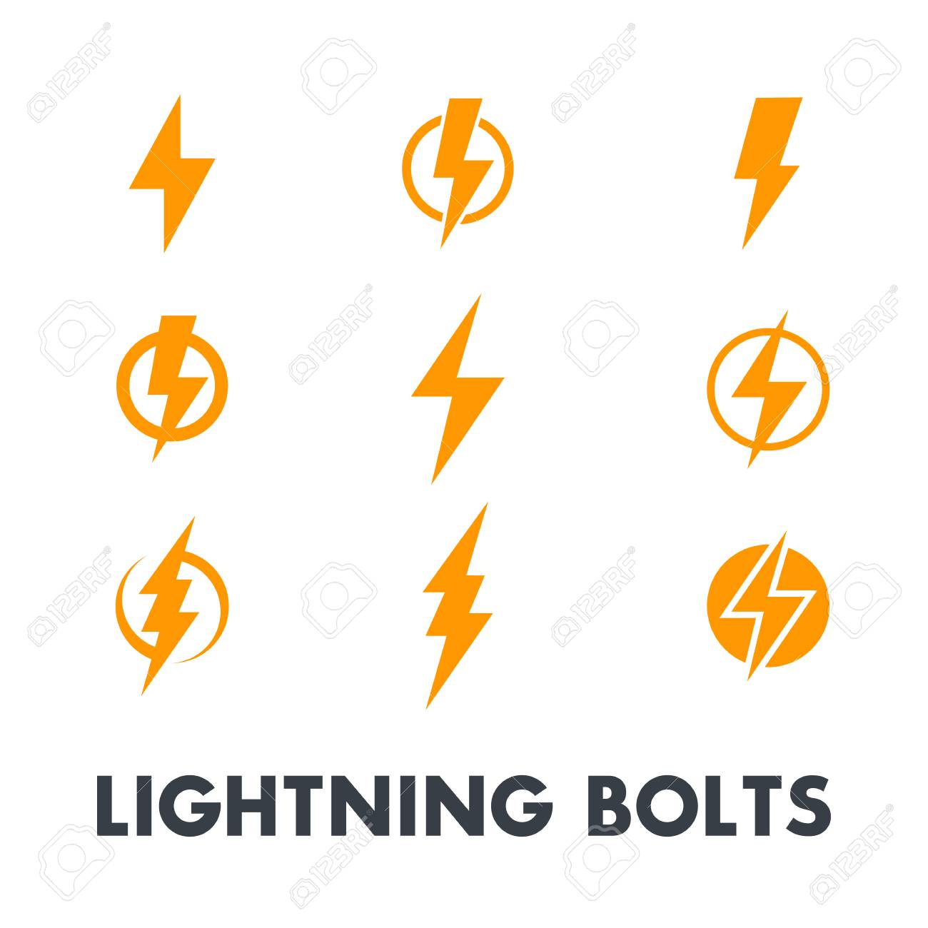 Lightning Bolt Vector Signs, Icons Isolated Over White Royalty ...