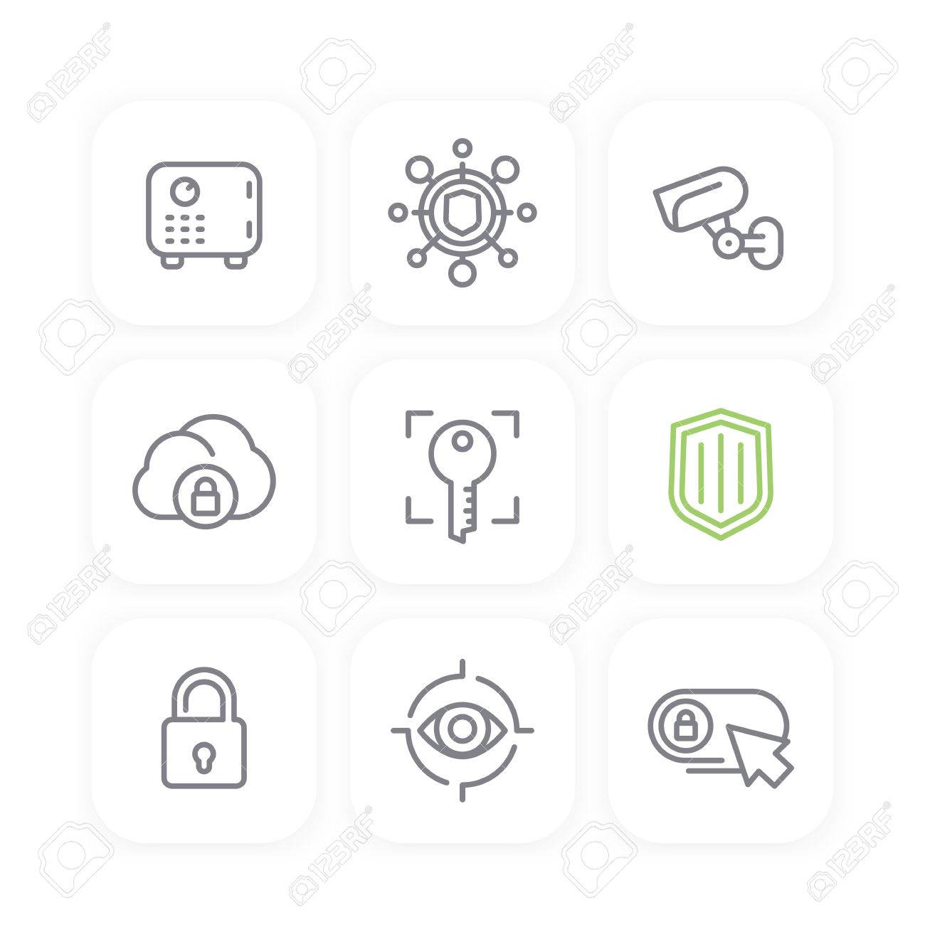 Security line icons set, secure cloud, key, lock, shield, strongbox,
