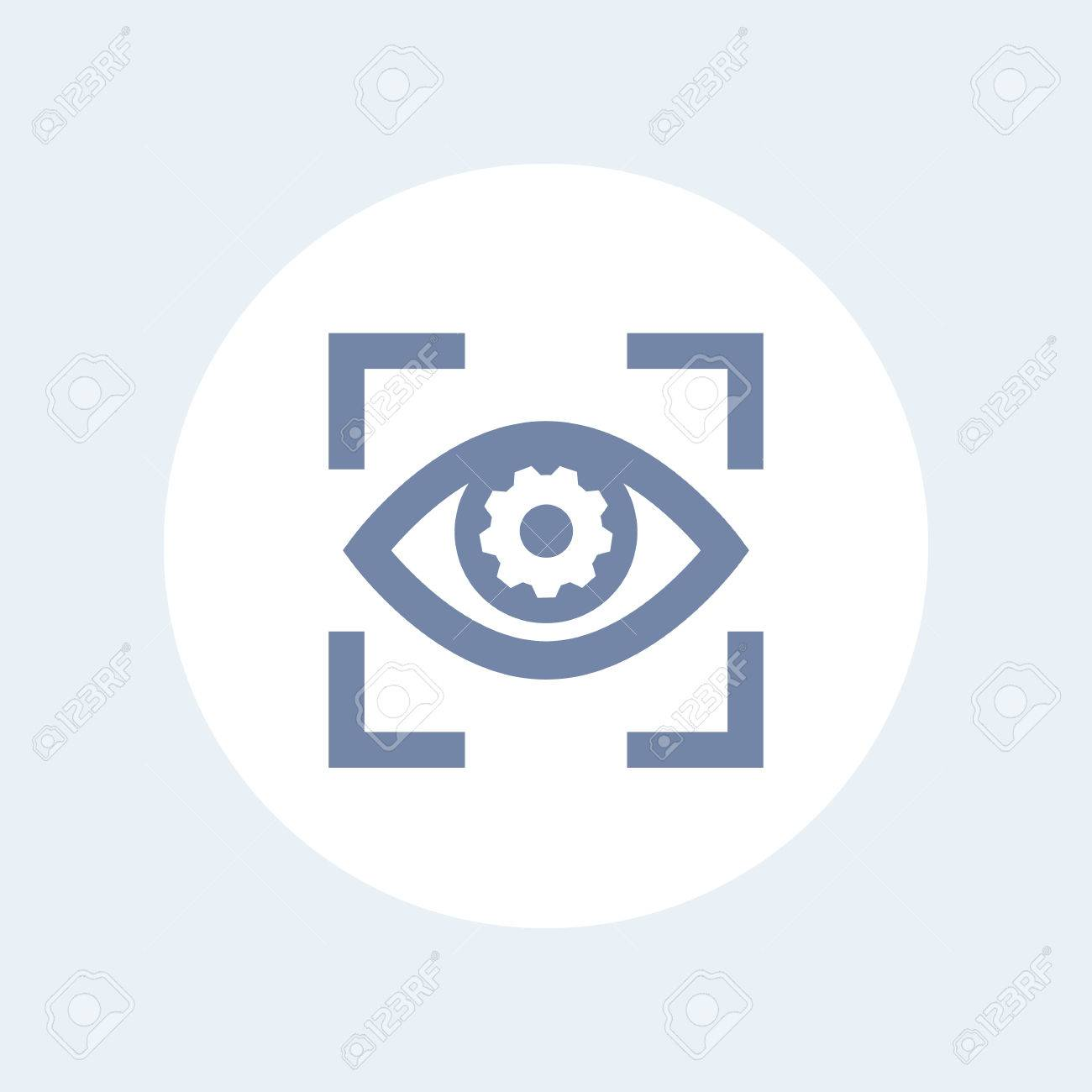 eye with gear icon isolated on white, retina scanning, biometric recognition symbol - 74731464