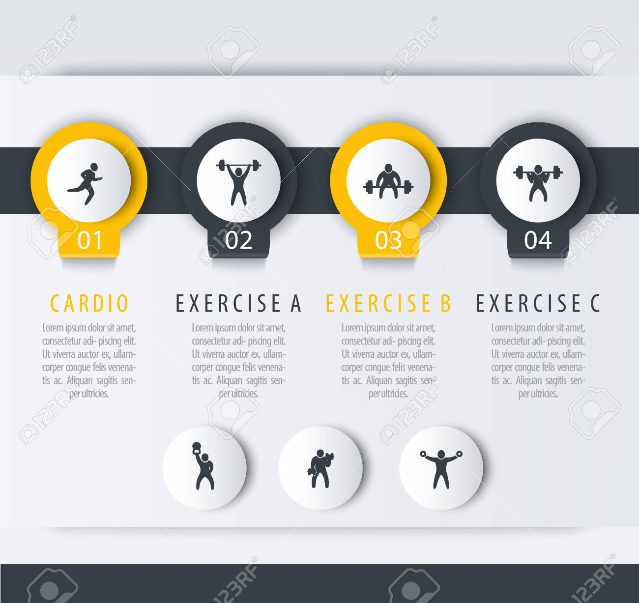 Gym Training Workout 4 Steps Infographic Template With Fitness Exercise Icons Stock Vector