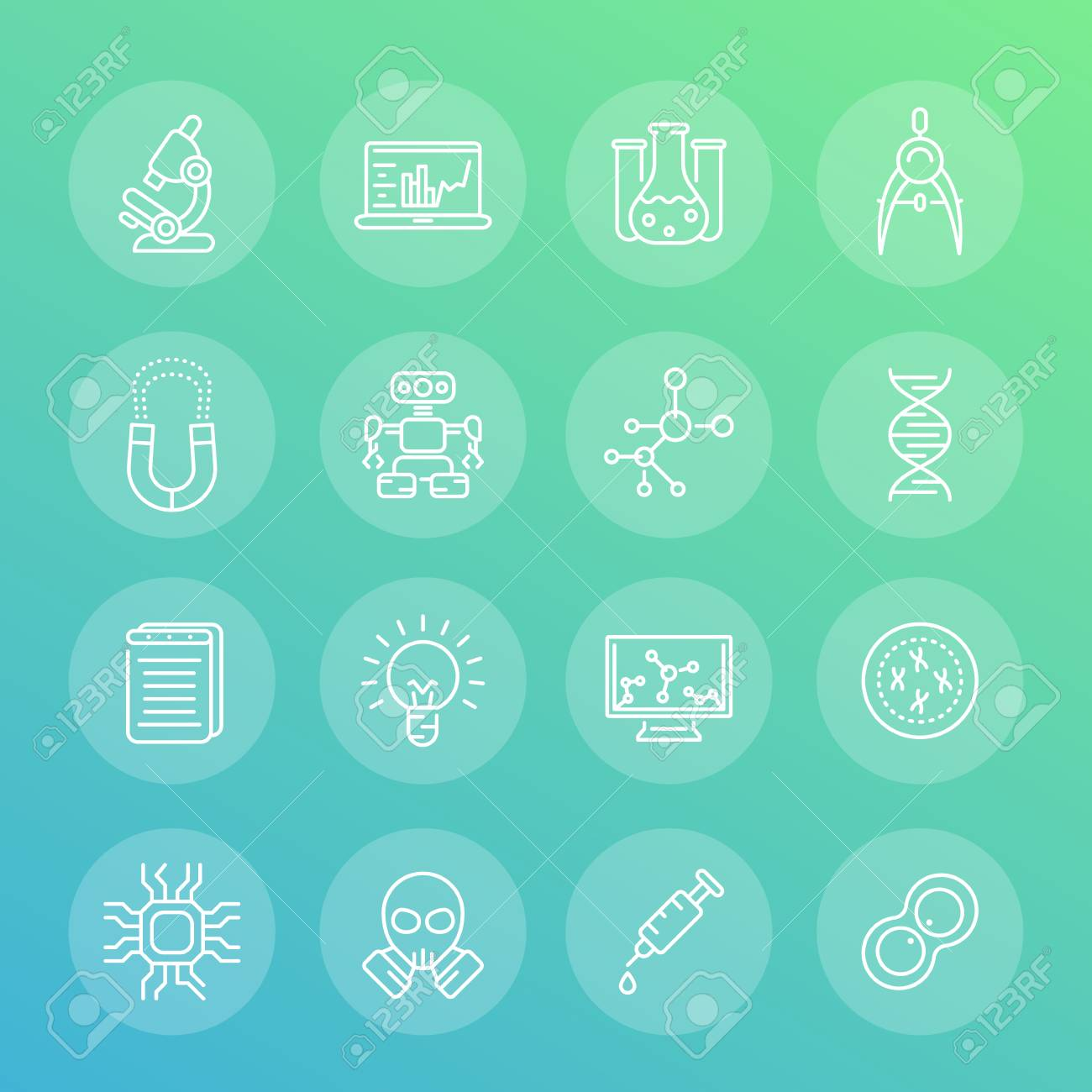 Science and research line icons set, robotics, mechanical engineering,