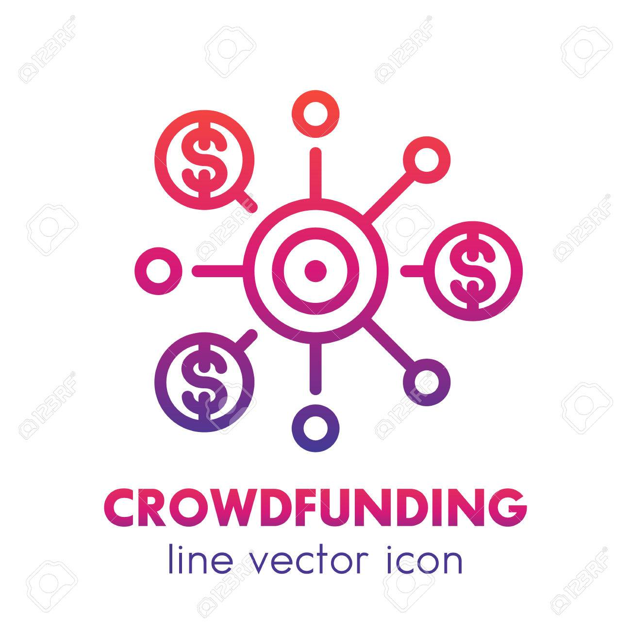 crowdfunding line icon over white crowdsourcing raising funding