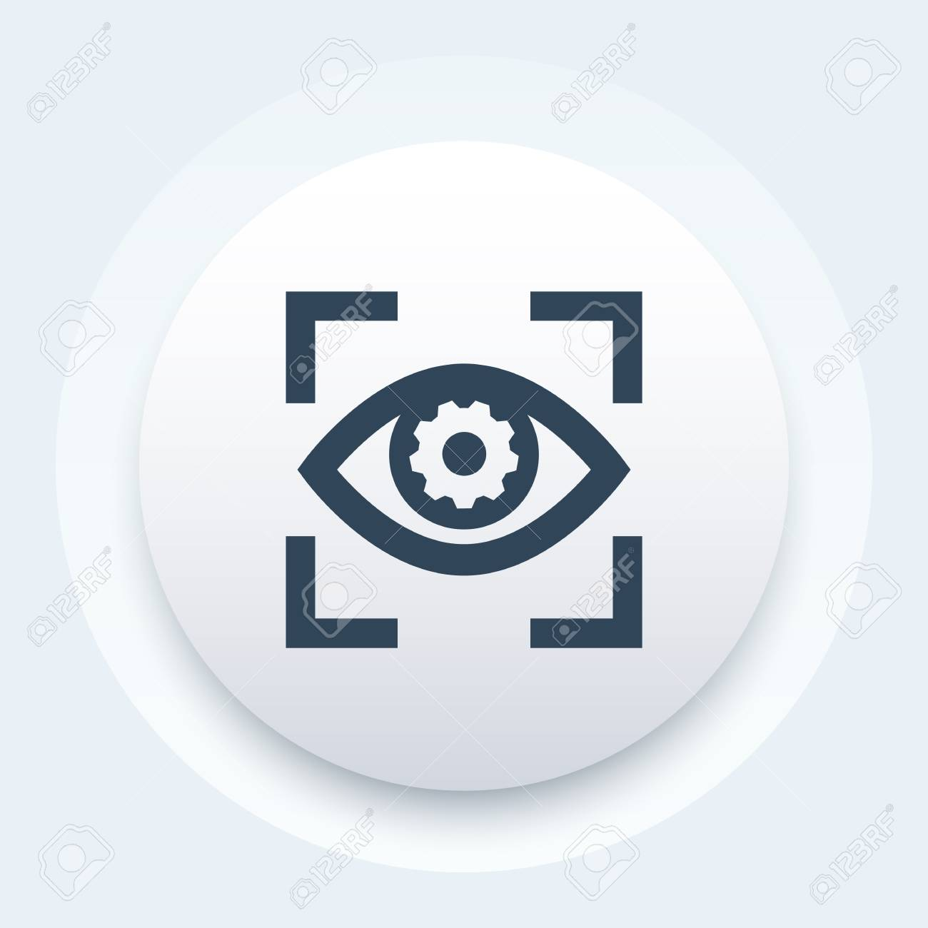 An eye with gear vector icon - 77954515