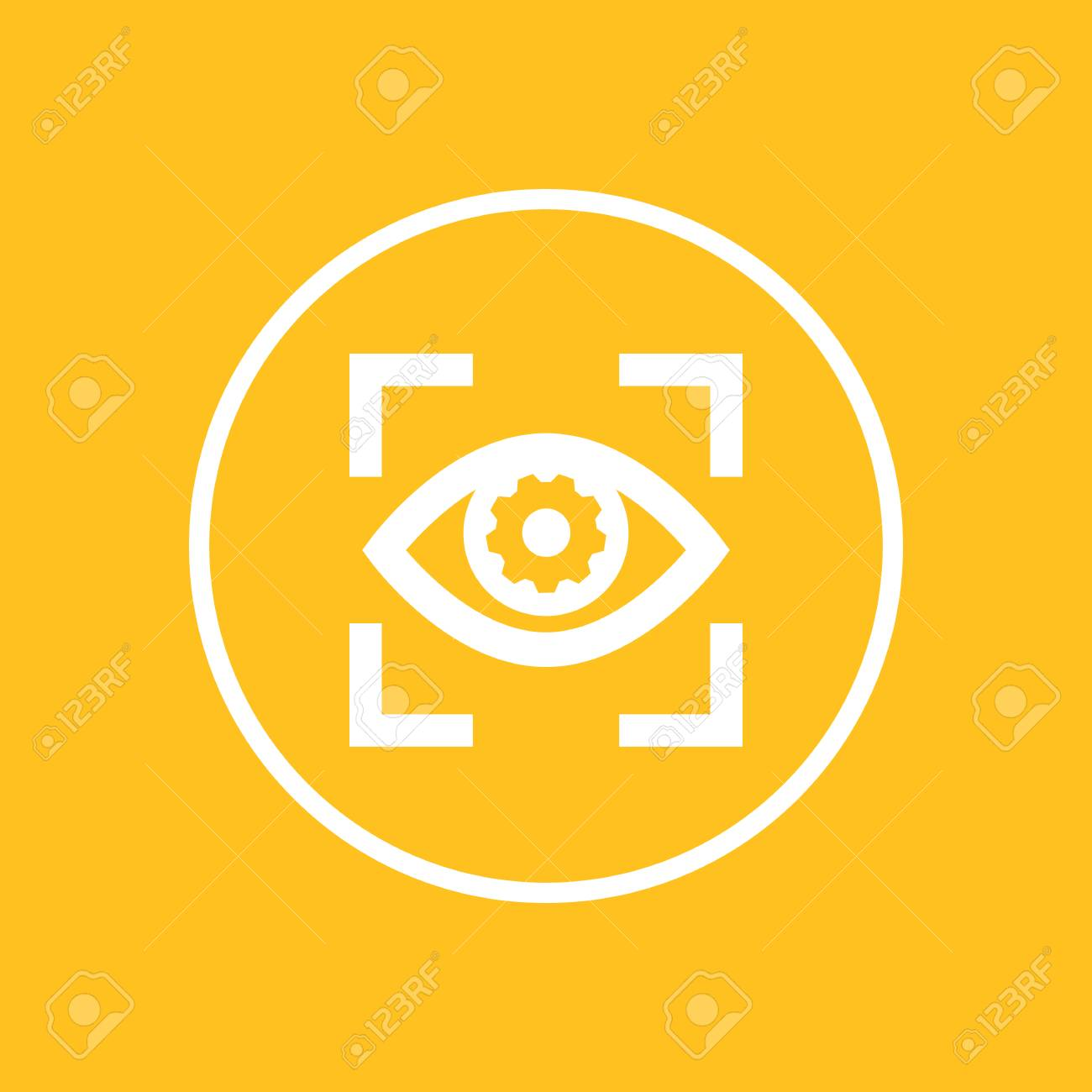 eye with gear icon in circle - 77975220