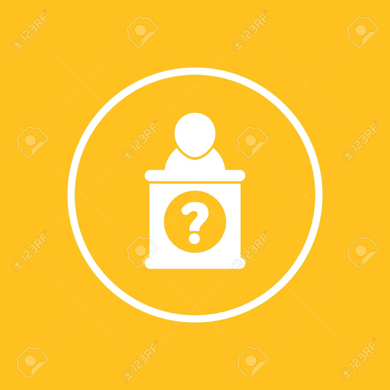 Information Desk Icon In Circle Vector Illustration