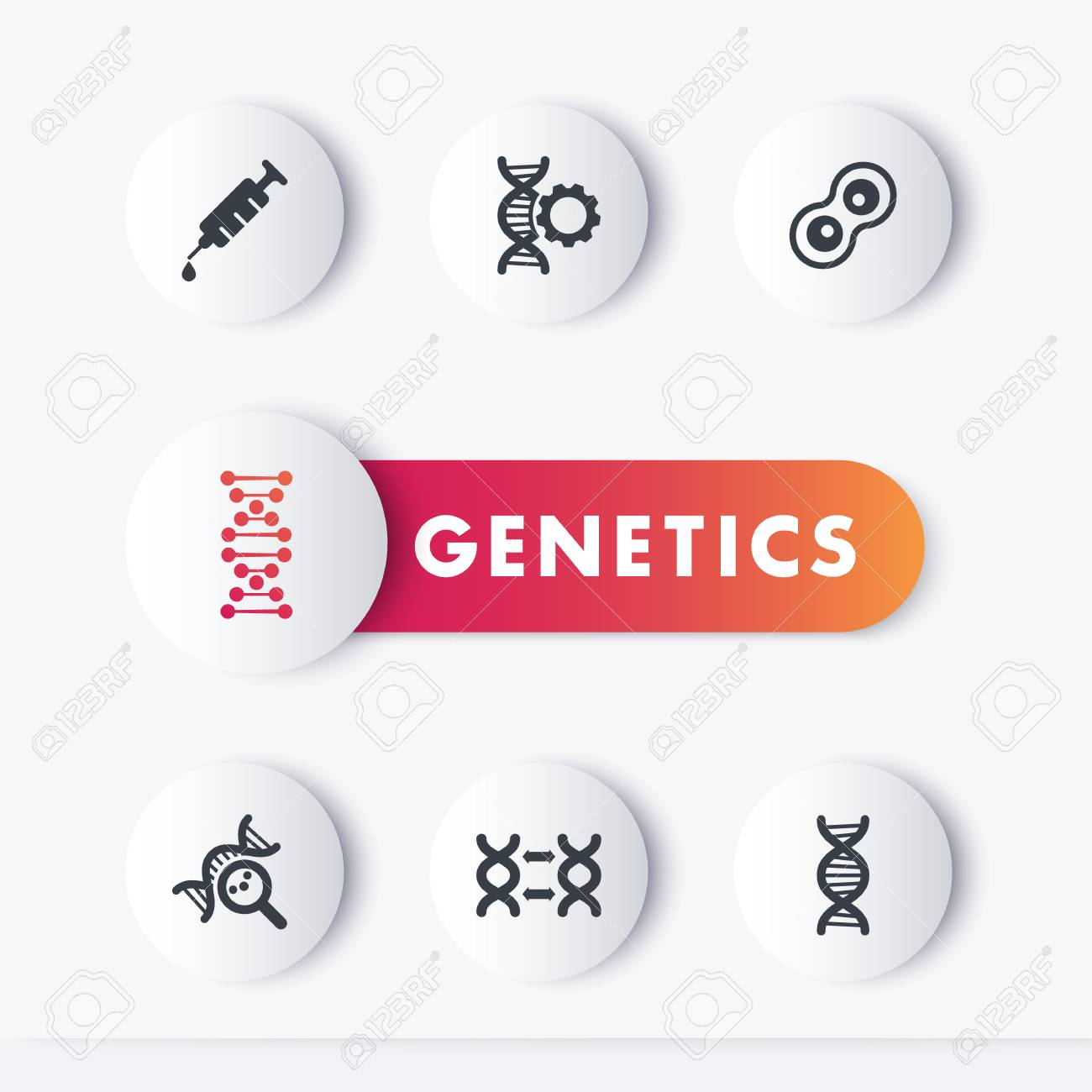 genetics icons set genetic modification research dna chains