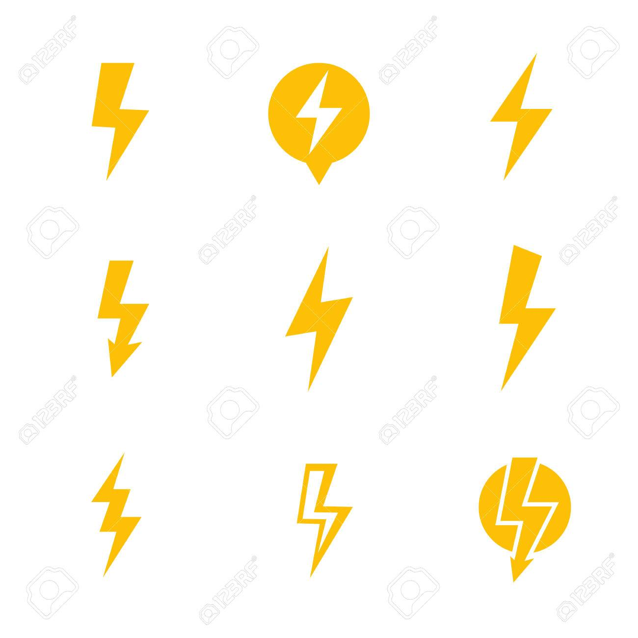 Lightning Bolt, Electricity Warning Vector Signs Over White ...