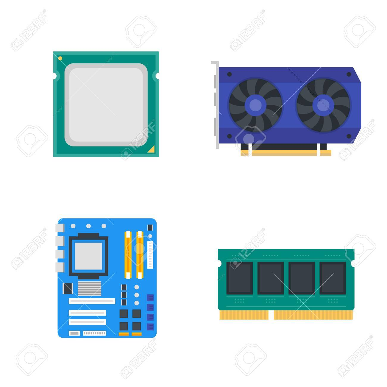 computer components icons motherboard memory video card cpu royalty free cliparts vectors and stock illustration image 85710940 computer components icons motherboard memory video card cpu