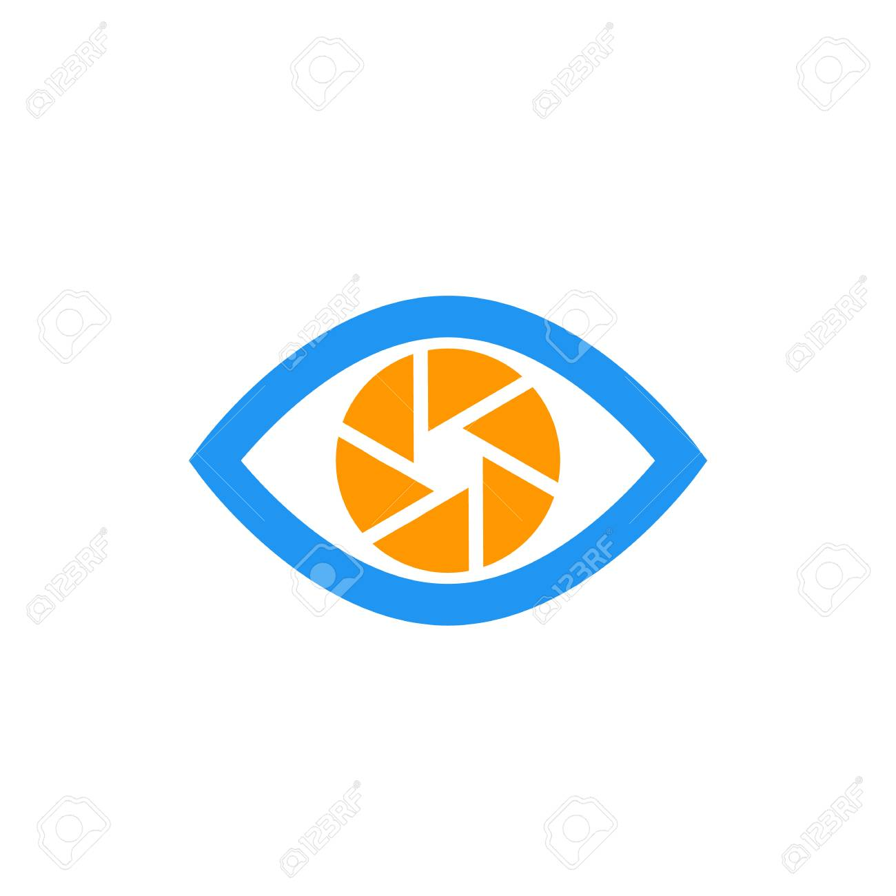 eye with aperture symbol, vector icon on white - 89552919